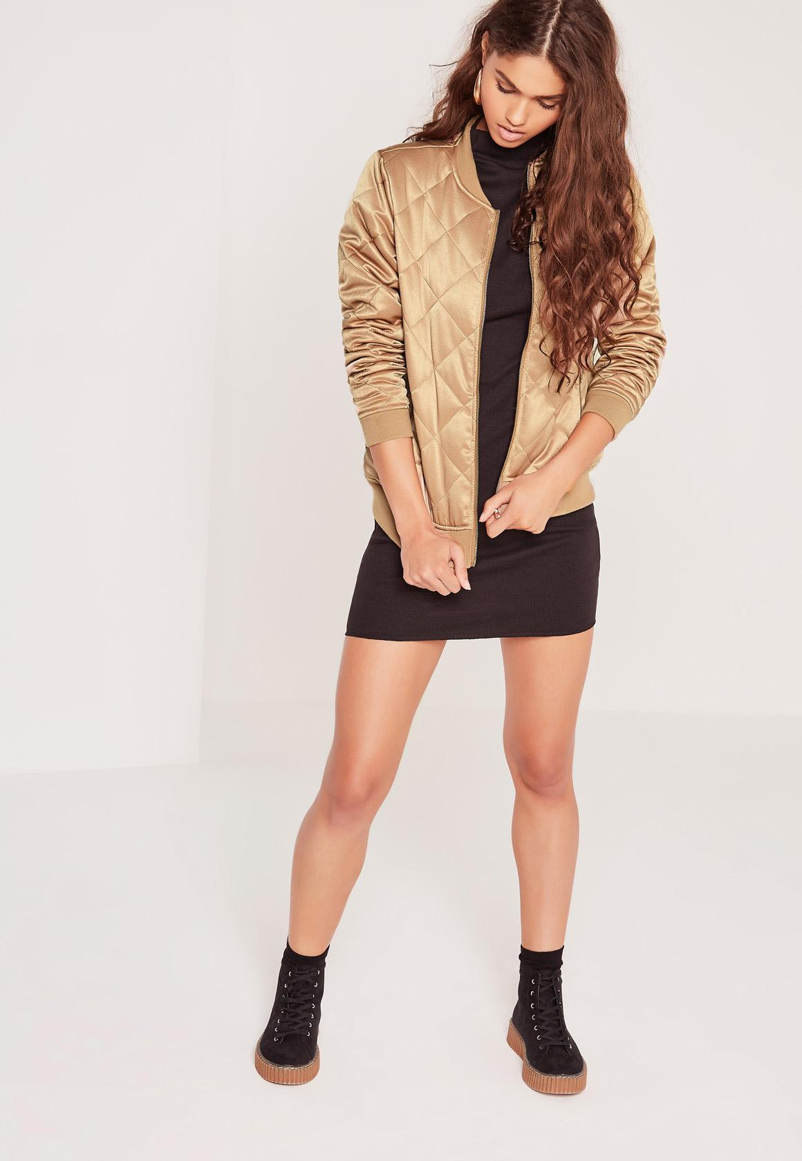Missguided Quilted Satin Bomber Jacket Gold In Metallic Lyst