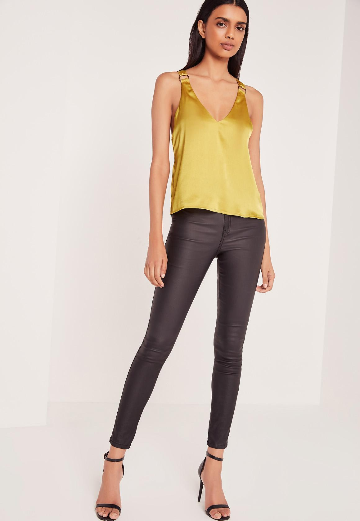 yellow satin cami missguided d ring detail satin cami yellow in yellow lyst 7551
