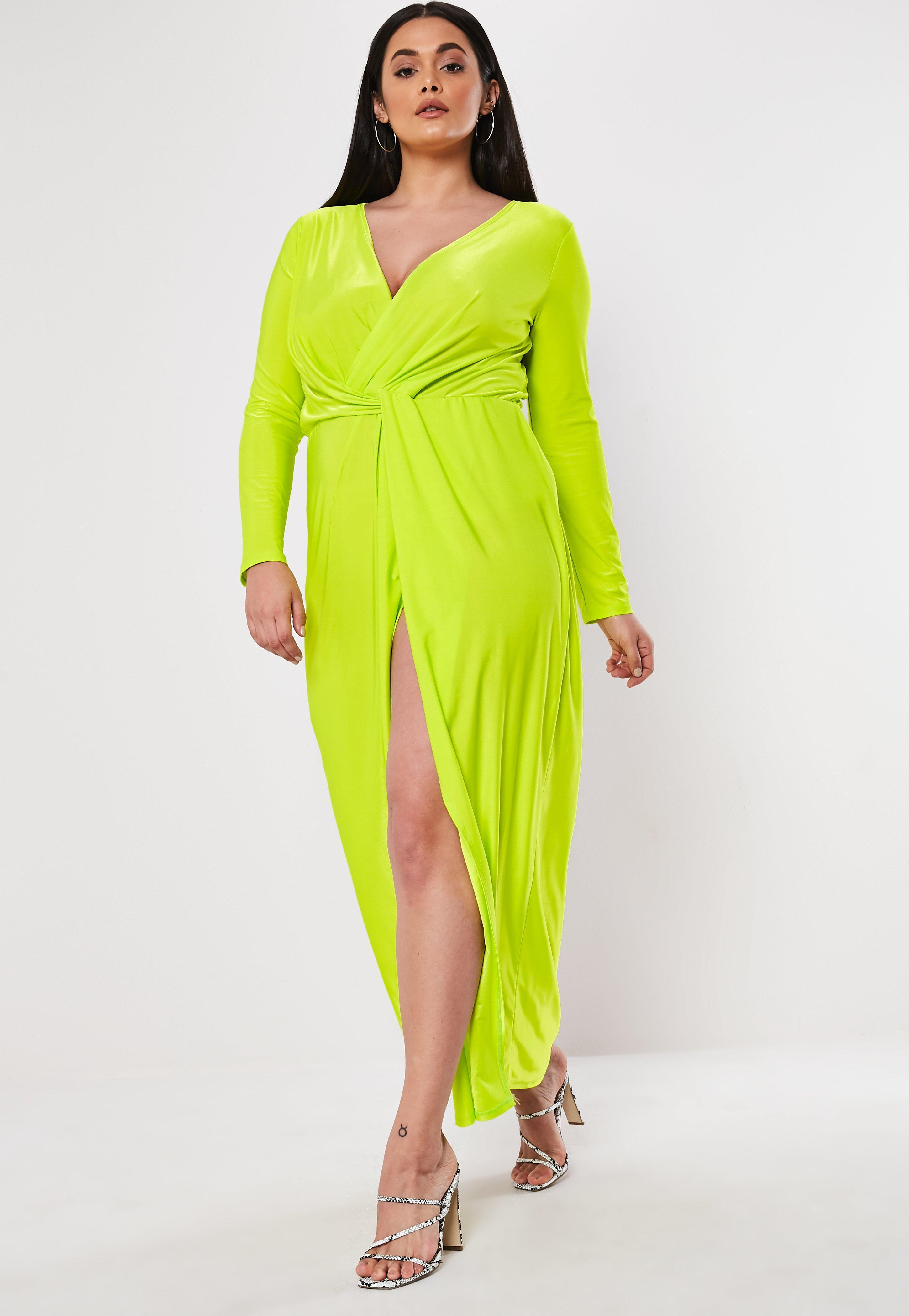 Lyst - Missguided Plus Size Lime Thigh Split Maxi Dress in Yellow