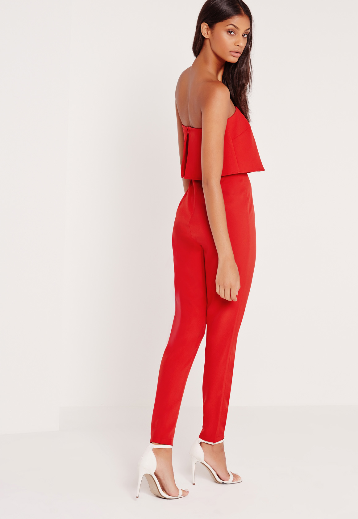 missguided bandeau double layer jumpsuit red in black lyst. Black Bedroom Furniture Sets. Home Design Ideas