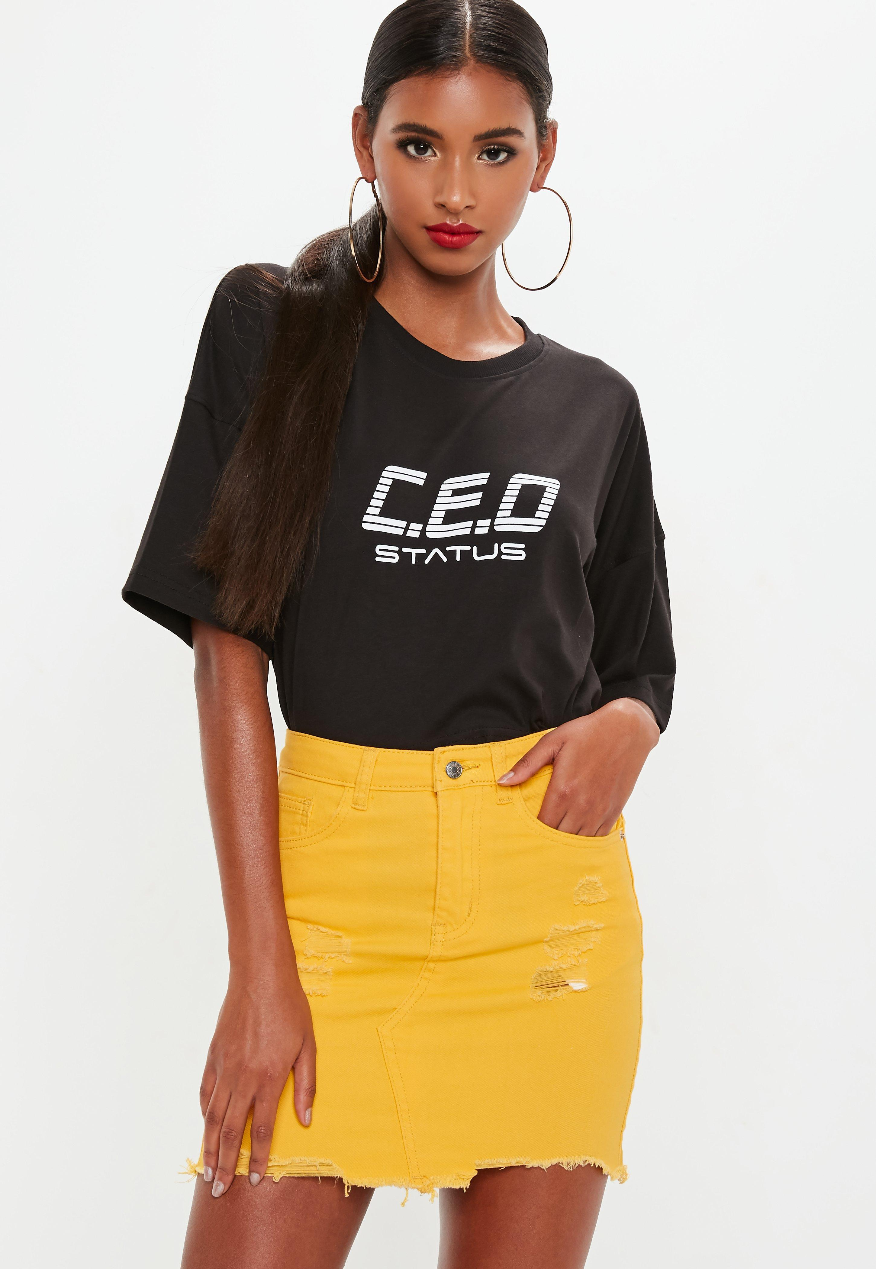 e881cfbce7 Missguided Yellow Distressed Denim Mini Skirt in Yellow - Lyst