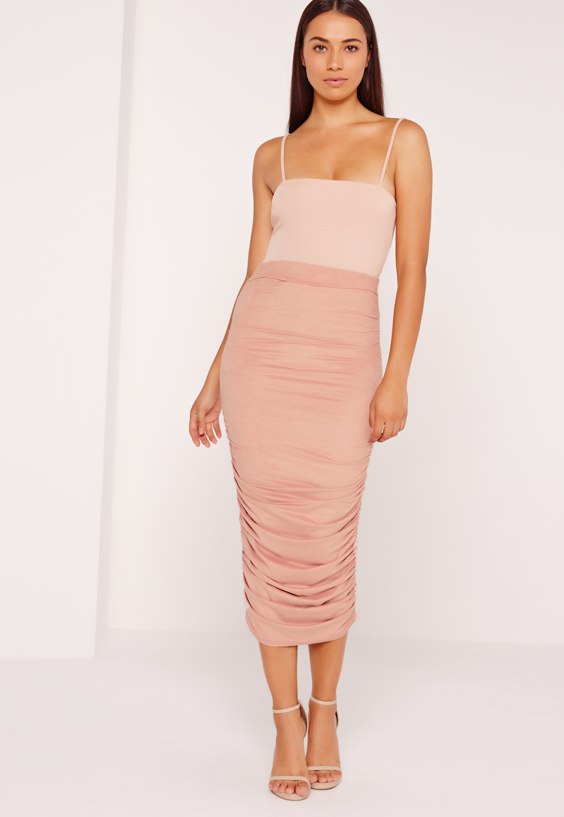 missguided ruched side faux suede midi skirt pink in pink