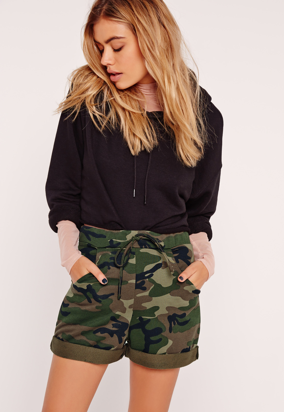 Missguided Camo High Waisted Runner Shorts in Multicolor | Lyst