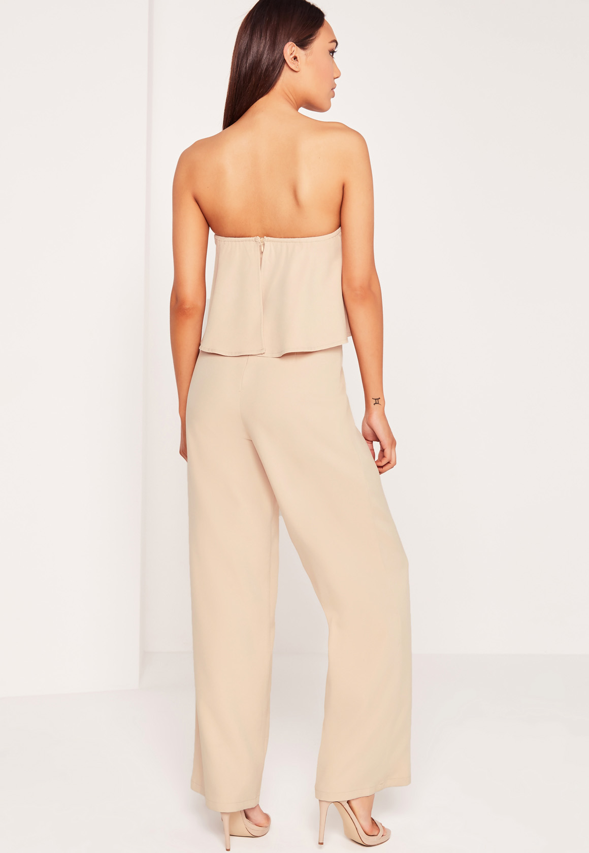 Missguided Crepe Frill Wide Leg Jumpsuit Nude
