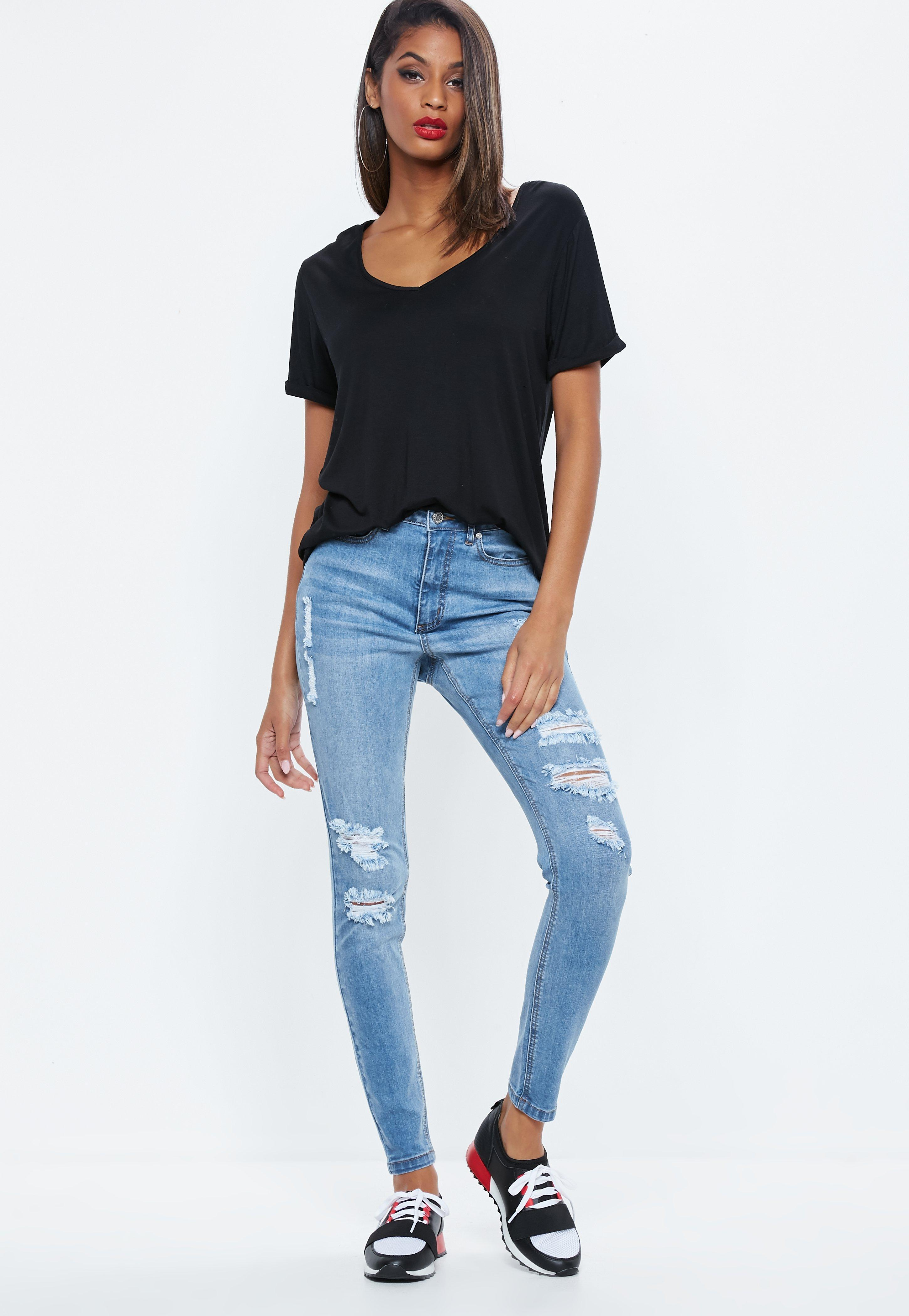 48230832 Lyst - Missguided Blue Sinner Highwaisted Distressed Skinny Jeans in ...