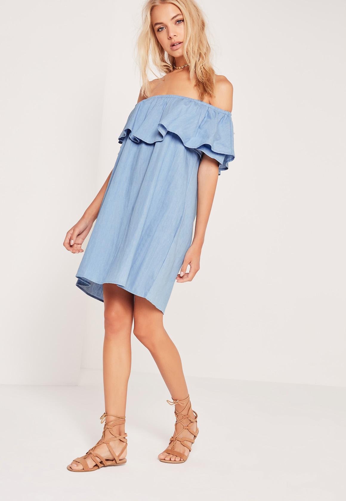missguided denim bardot frill chambray dress in blue
