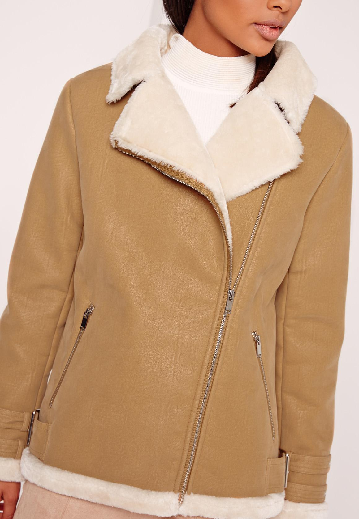 Missguided Faux Fur Lined Aviator Jacket Camel