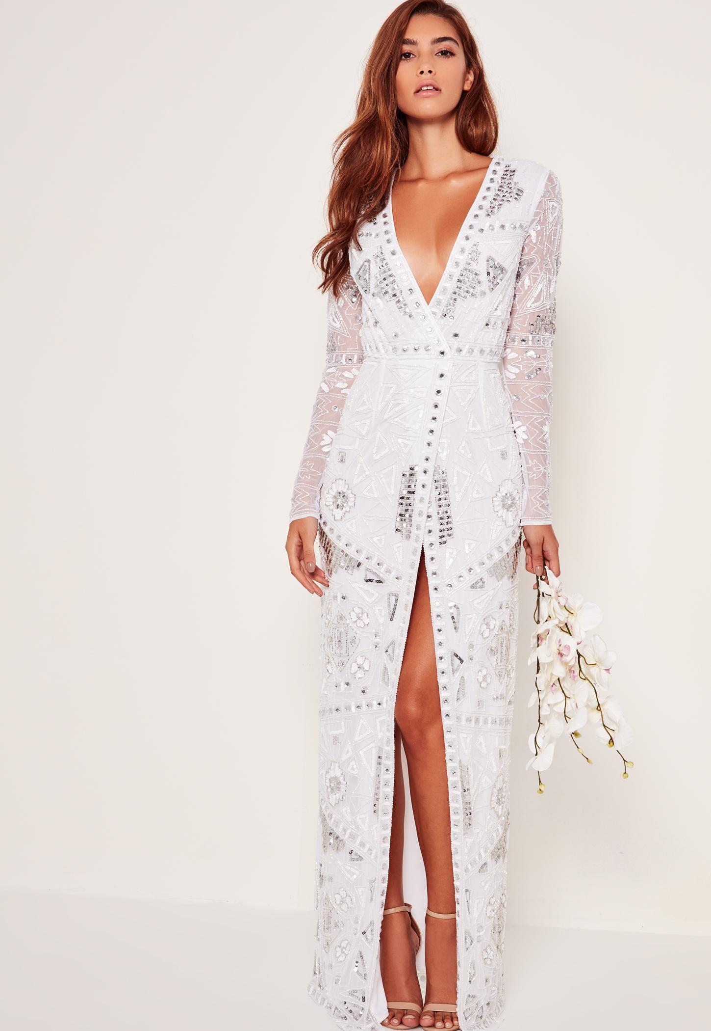 Lyst Missguided Bridal Sequin Wrap Maxi Dress White In White