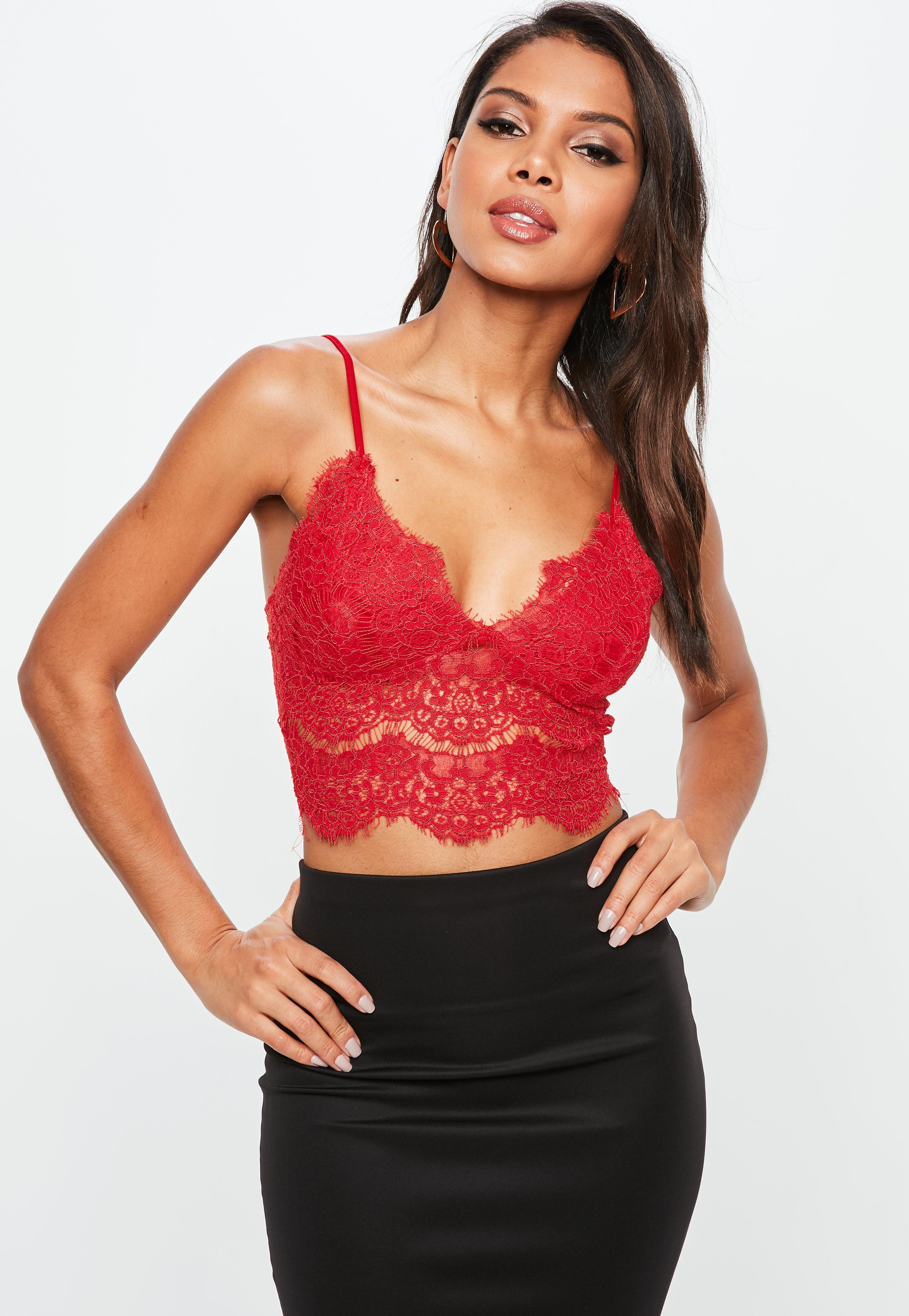 eb24a05e6c Lyst - Missguided Red Corded Lace Cami in Red