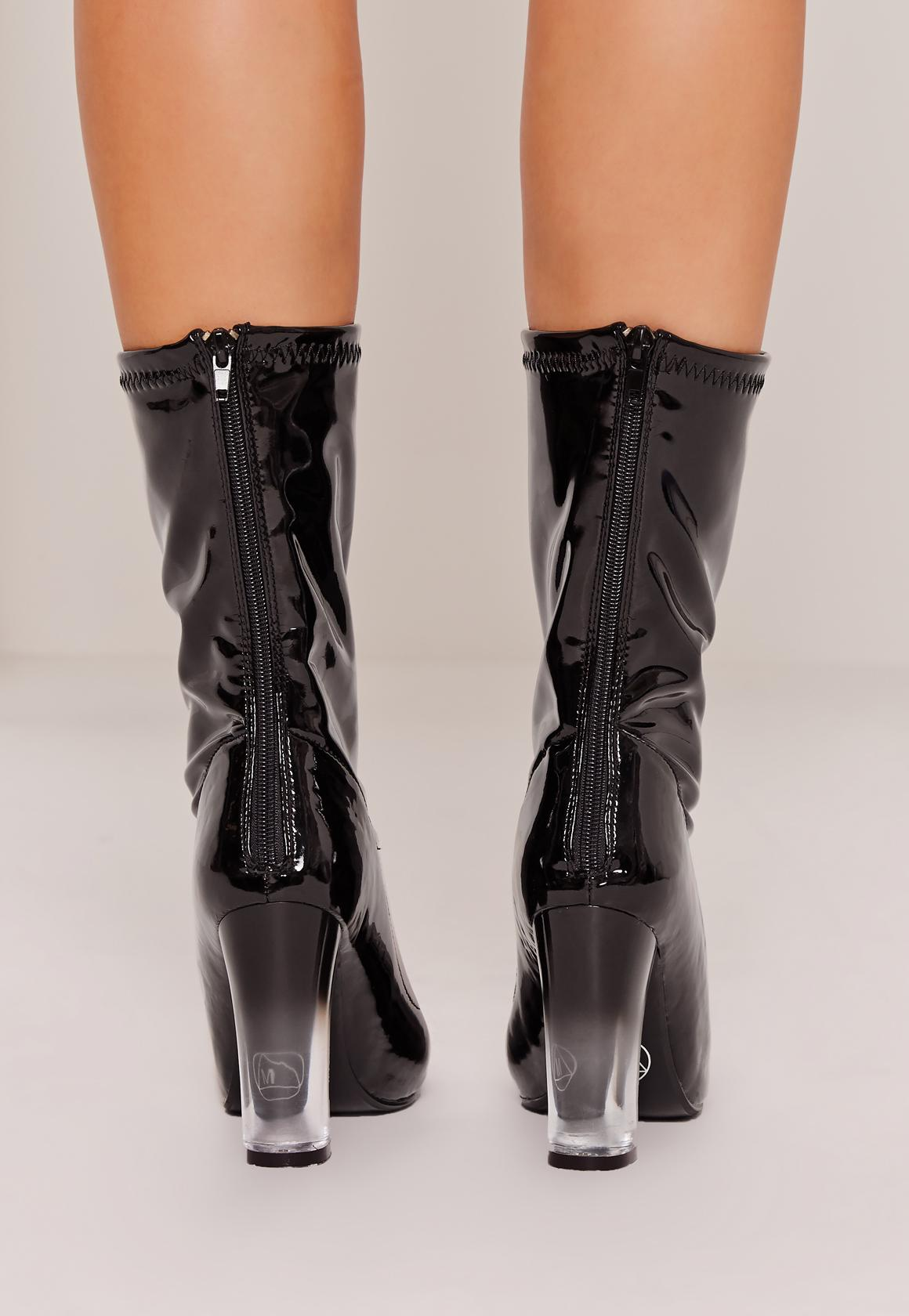 missguided patent transparent heel ankle boots black lyst. Black Bedroom Furniture Sets. Home Design Ideas