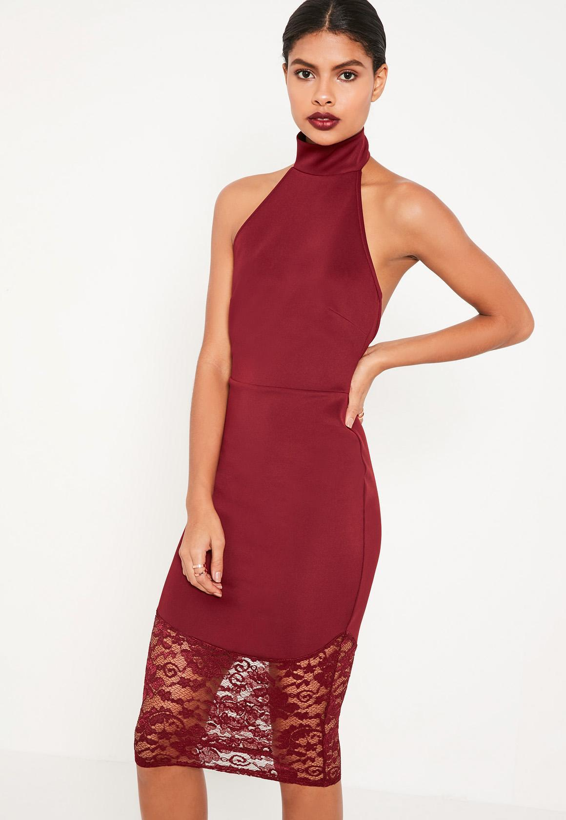 089632d9ef Lyst - Missguided Burgundy Lace Fishtail Halterneck Midi Dress