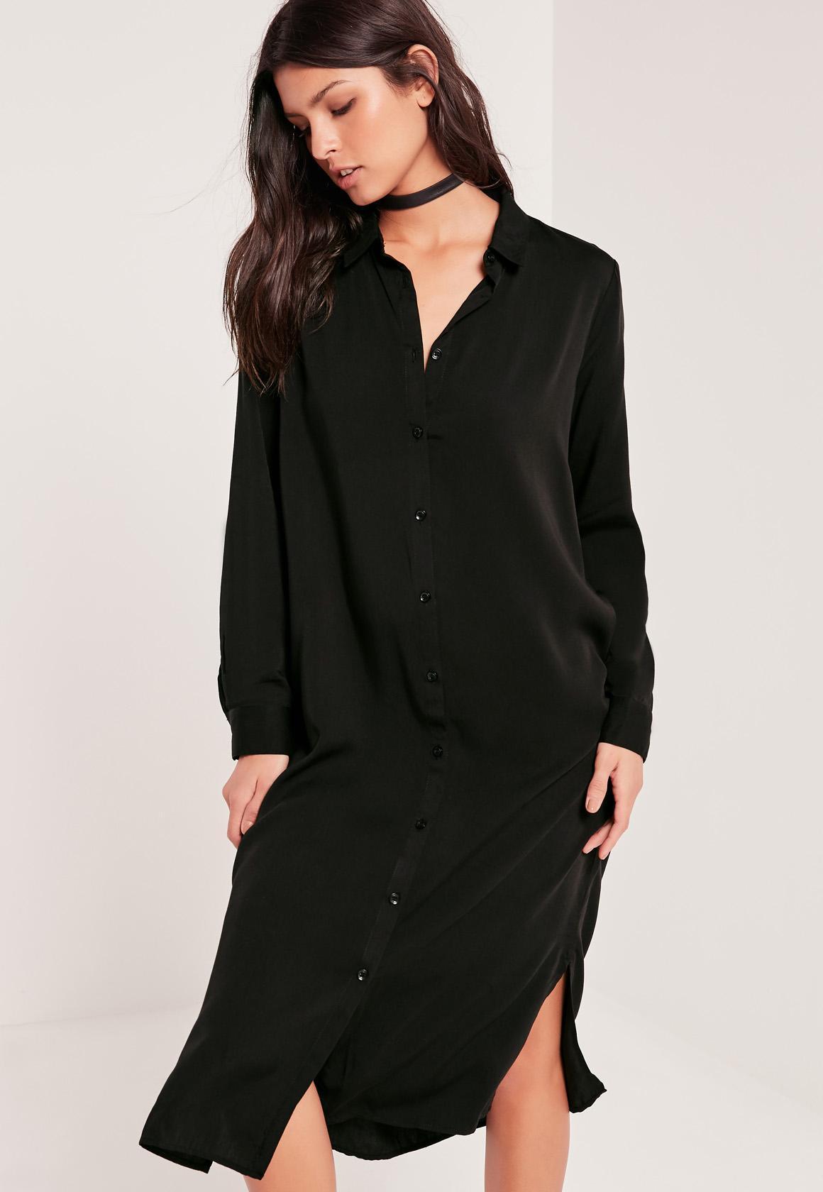 Missguided midi shirt dress black in black lyst for Midi shirt dress black
