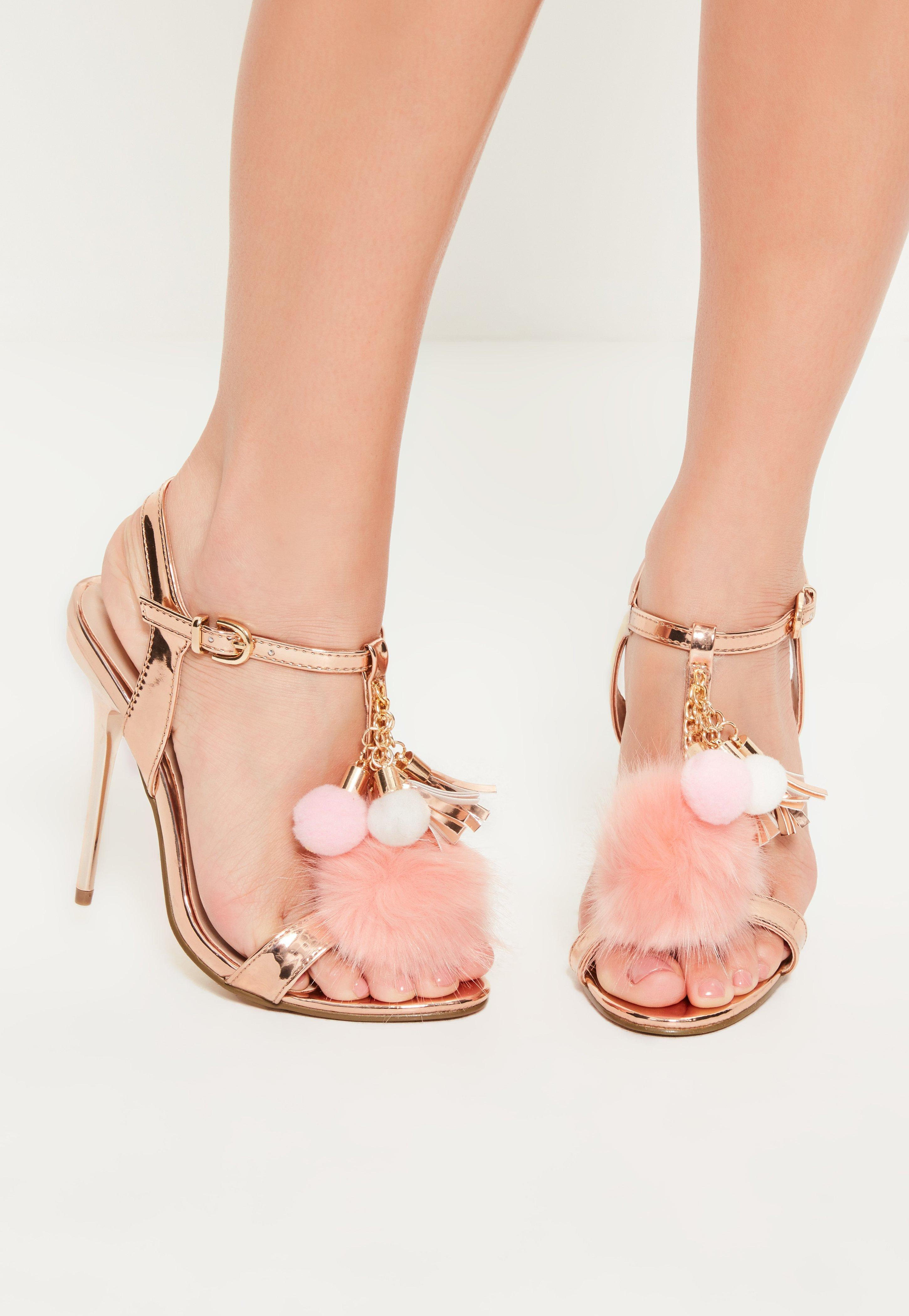 21cd74dc8f45 Lyst - Missguided Rose Gold Faux Fur Pom Pom Trim Heels in Pink