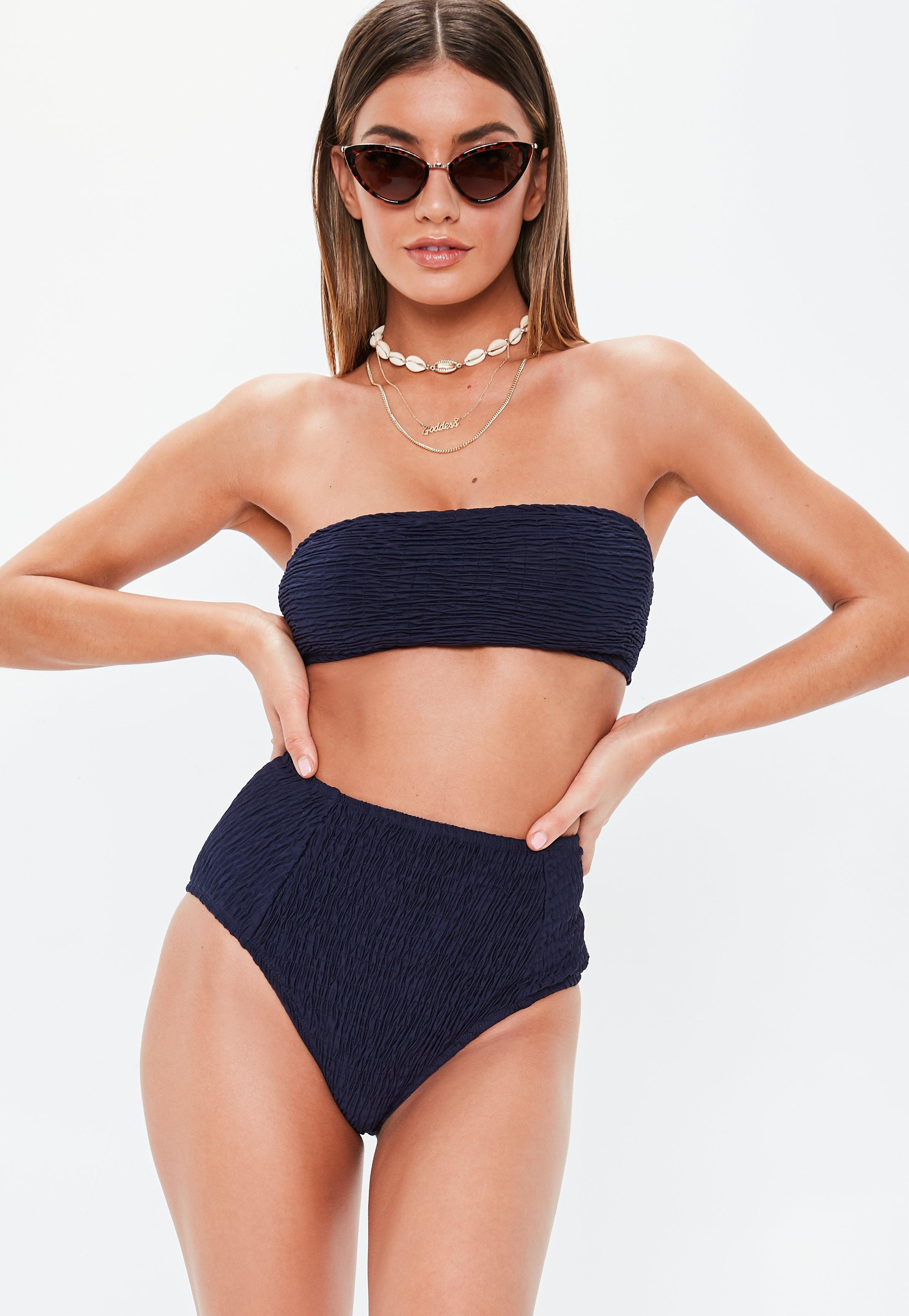 f8d2fb683be10 Lyst - Missguided Navy Crinkle High Waisted Bikini Briefs in Blue