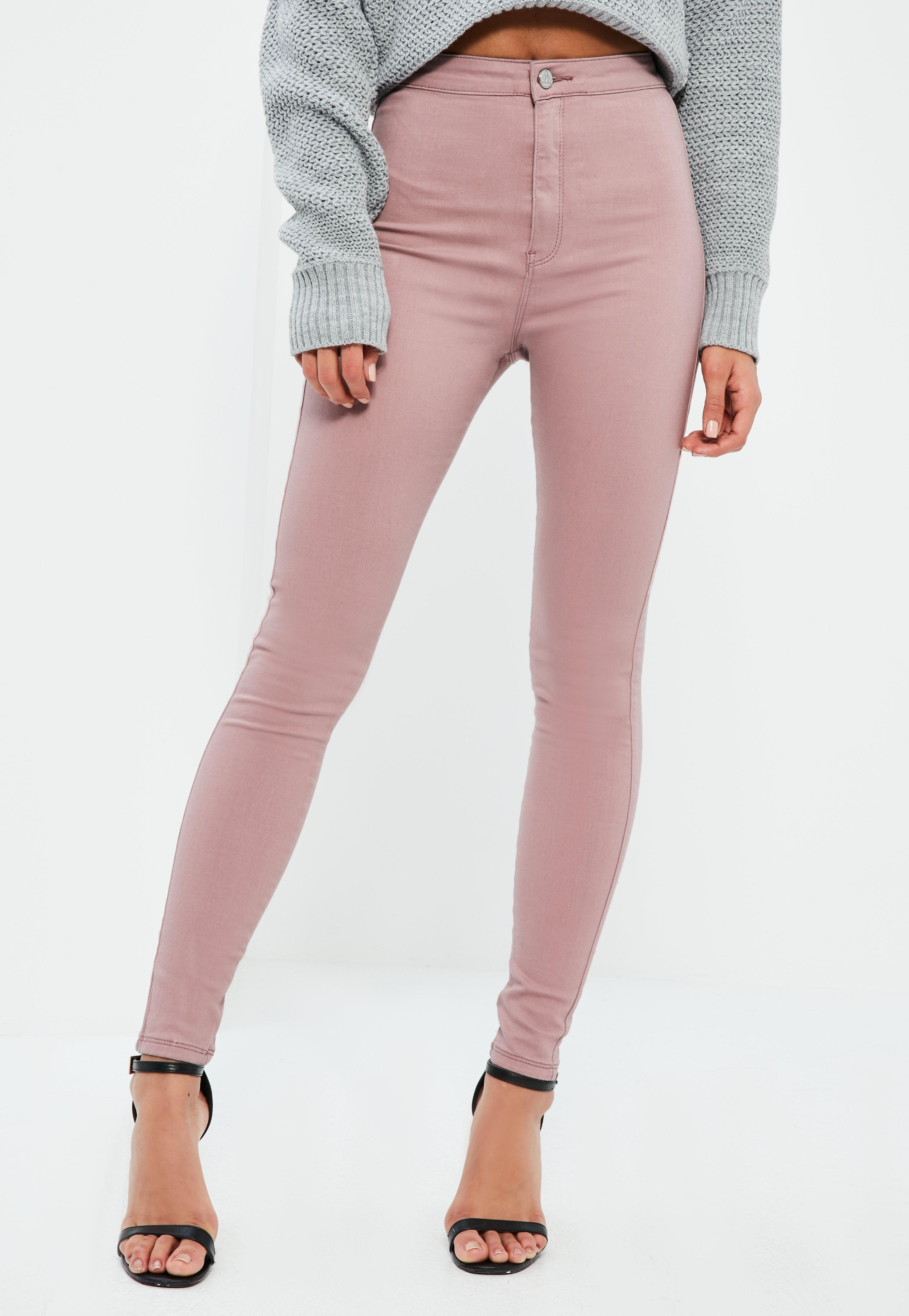 Missguided Pink Vice High Waisted Skinny Jeans In Pink Lyst