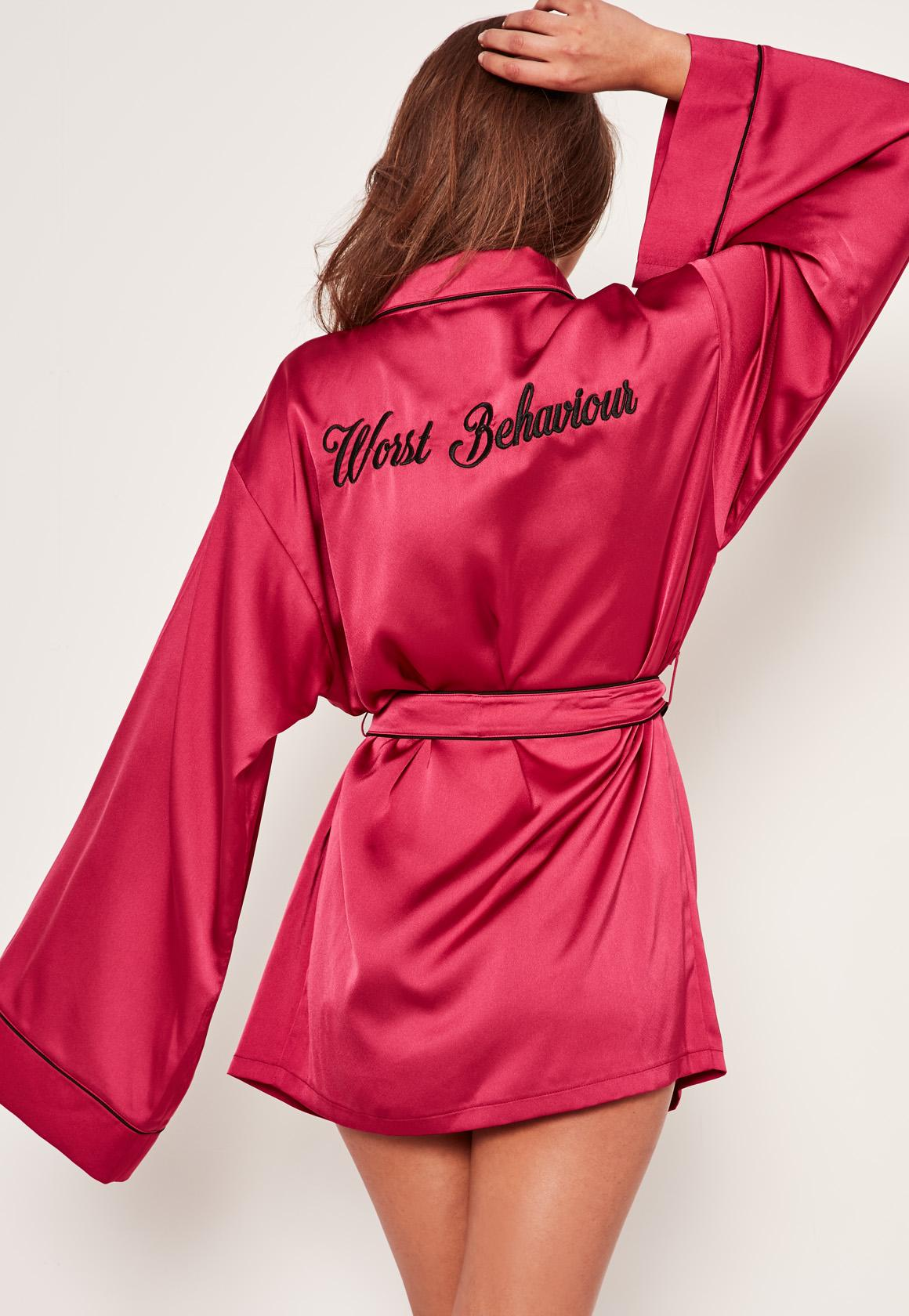 Missguided Pink Slogan Piping Silk Robe in Pink - Lyst 876deec9f