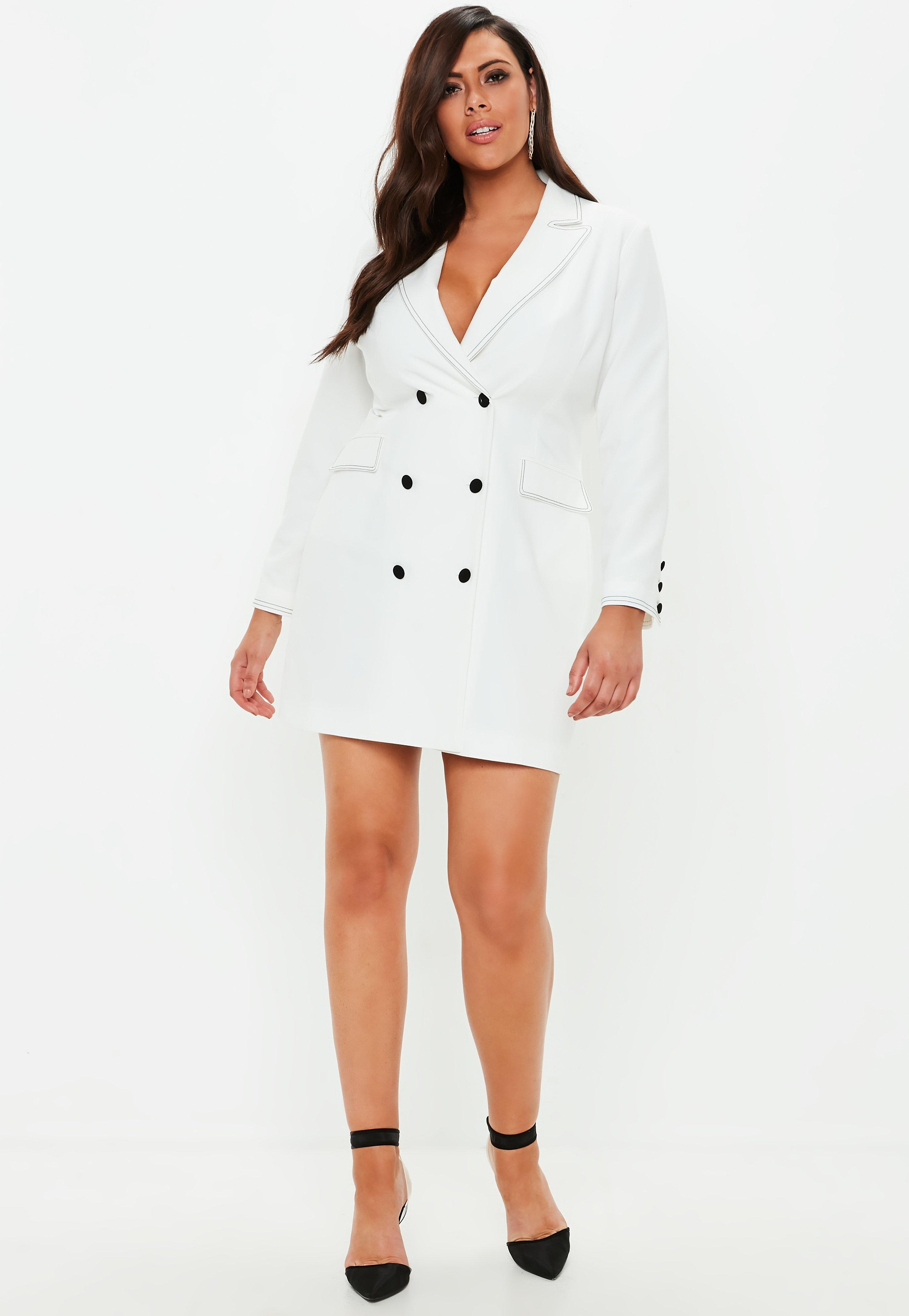 a8d15064ae4 Lyst - Missguided Plus Size White Crepe Contrast Stitch Blazer Dress ...