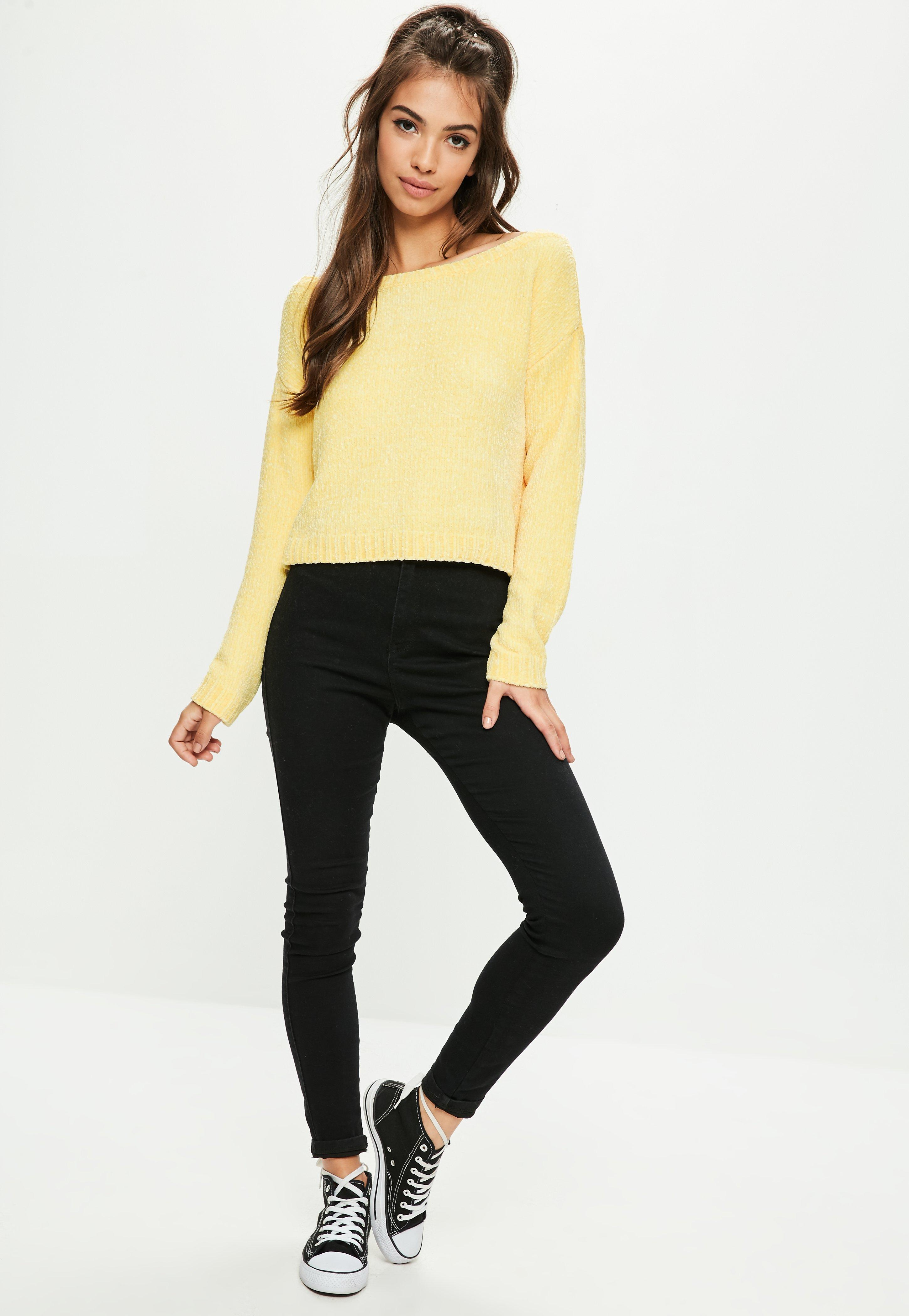 Missguided Yellow Off The Shoulder Chenille Jumper in Yellow | Lyst