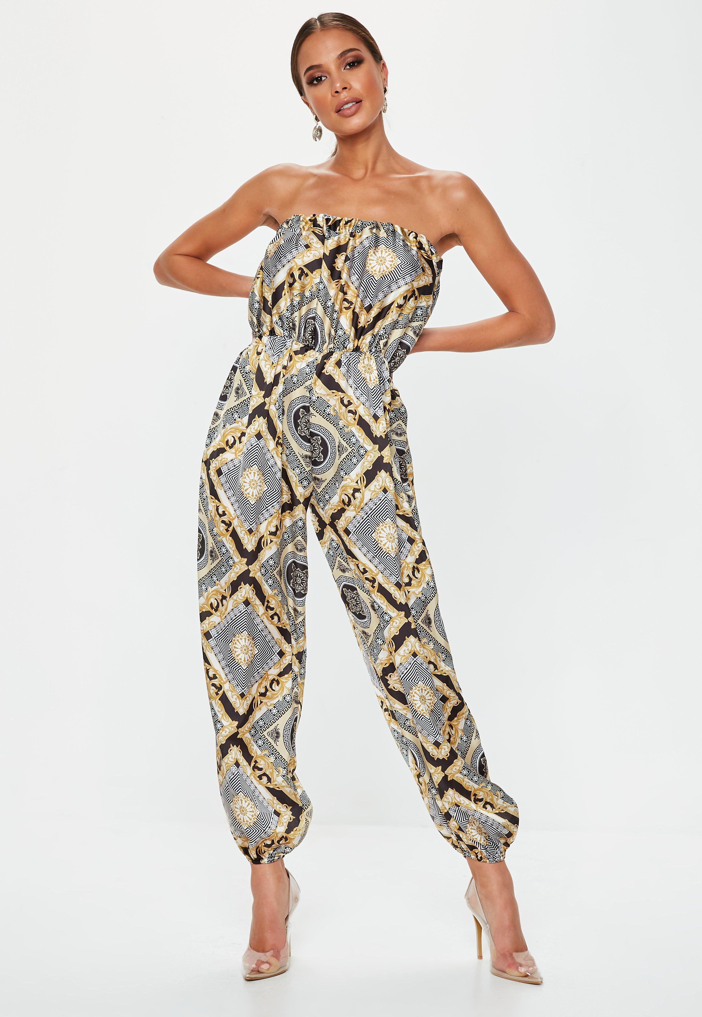 3c8f55c4cee4 Lyst - Missguided Black Printed Bandeau Satin Jumpsuit in Black