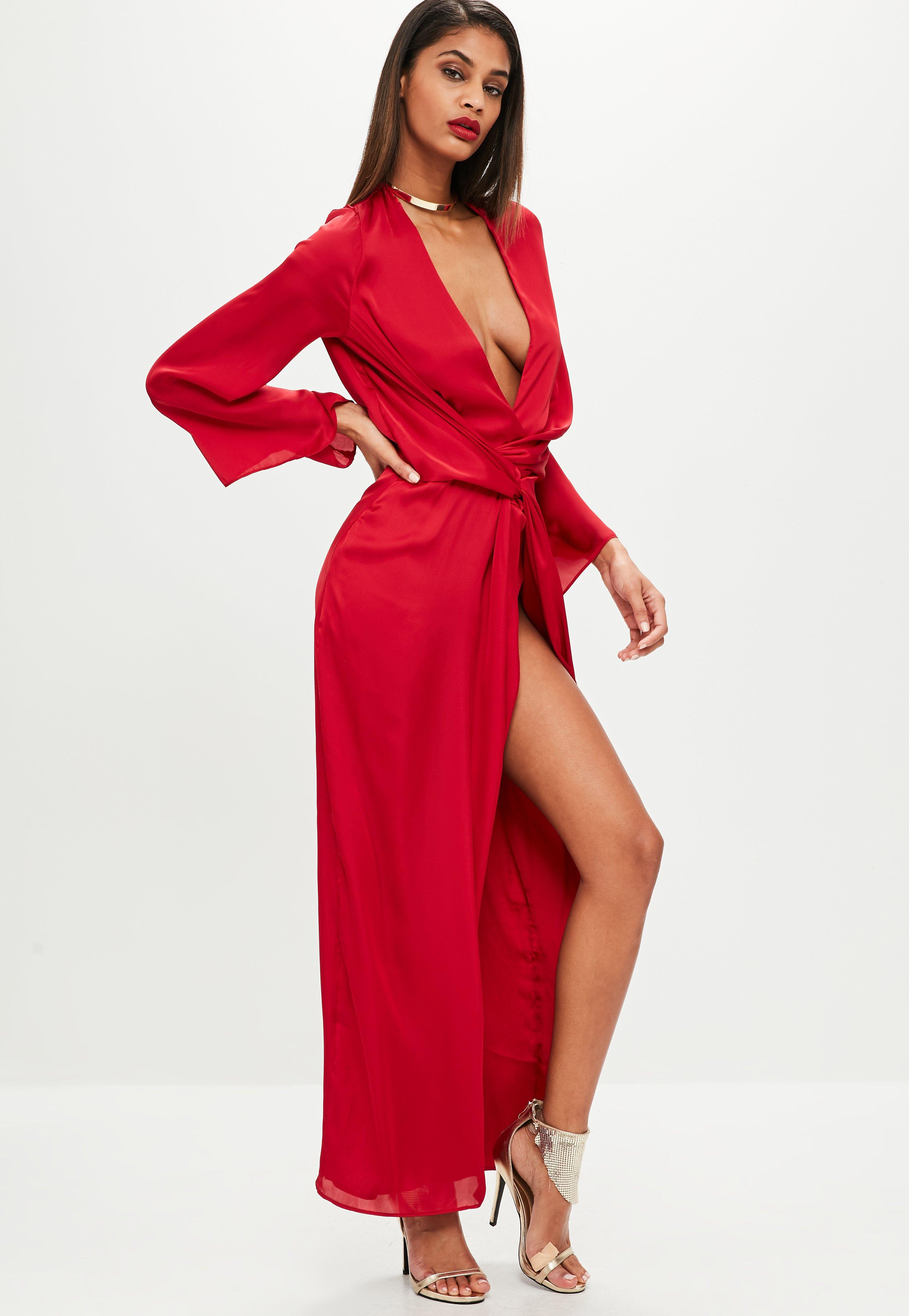 Lyst - Missguided Red Satin Plunge Kimono Maxi Dress in Red 4e7cffaf2