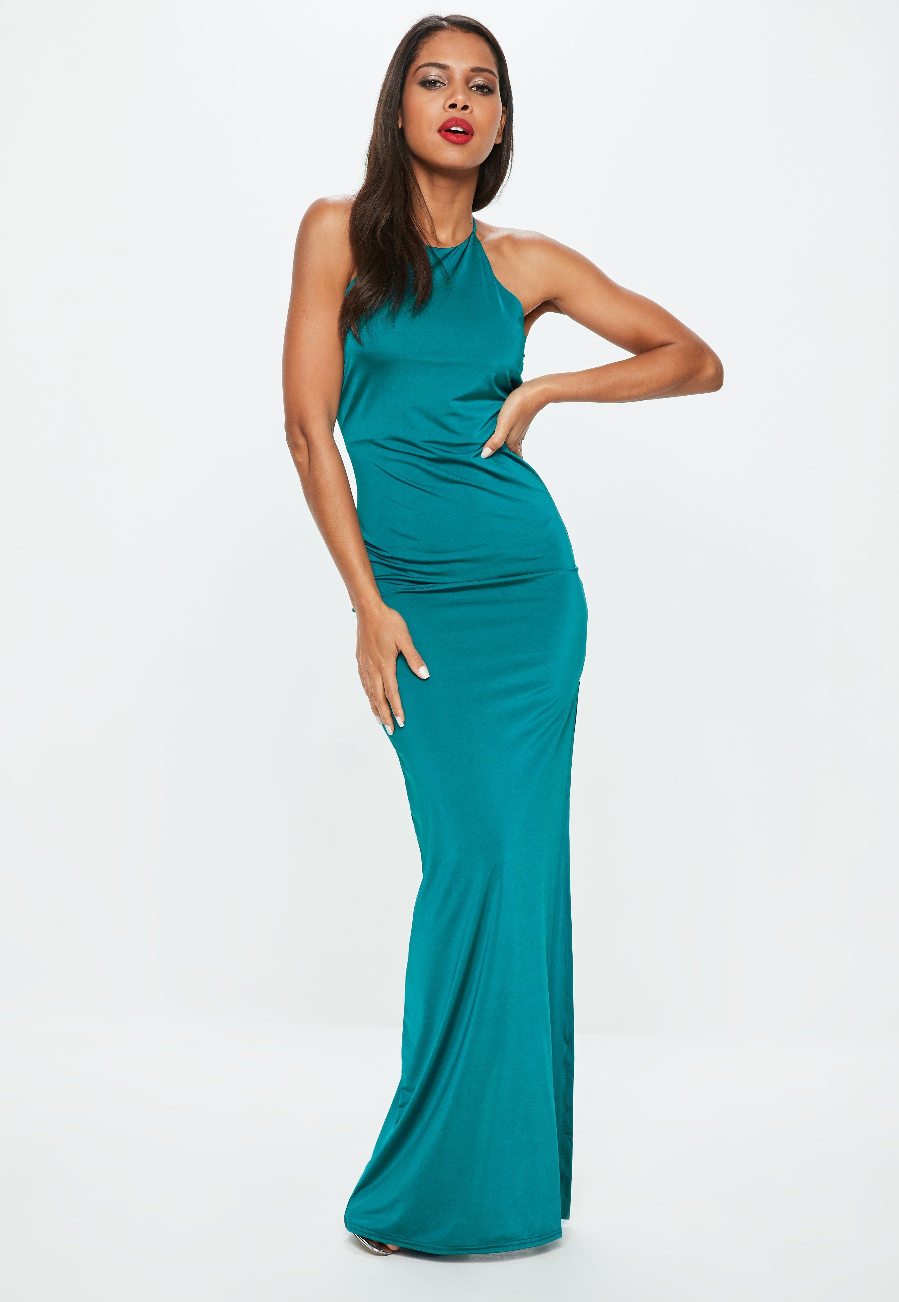 7e1b42bcb2 Missguided Teal Slinky Maxi Dress in Blue - Lyst