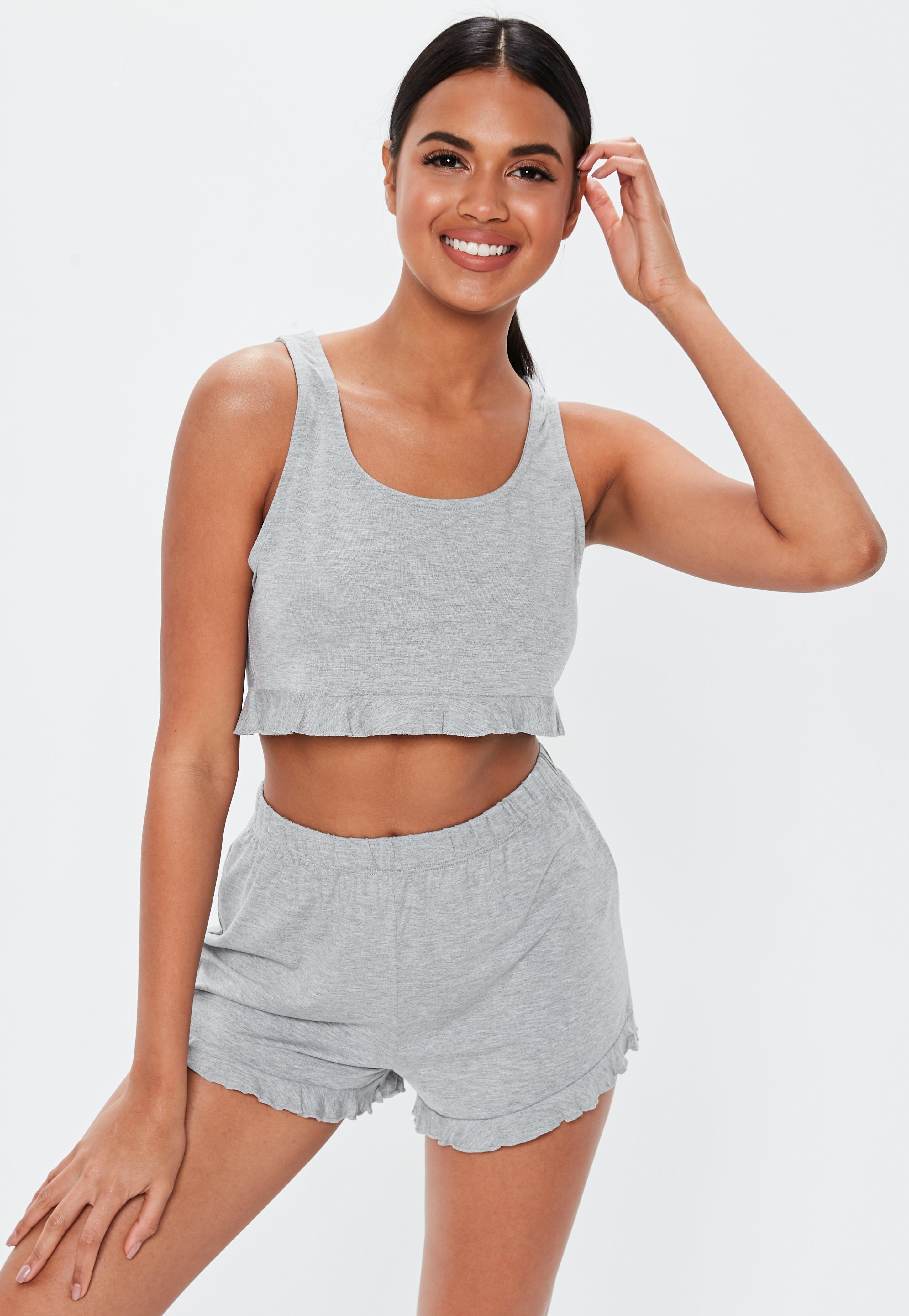 fec707070f5c7 Lyst - Missguided Gray Frill Crop Vest Short Pajamas Set in Gray