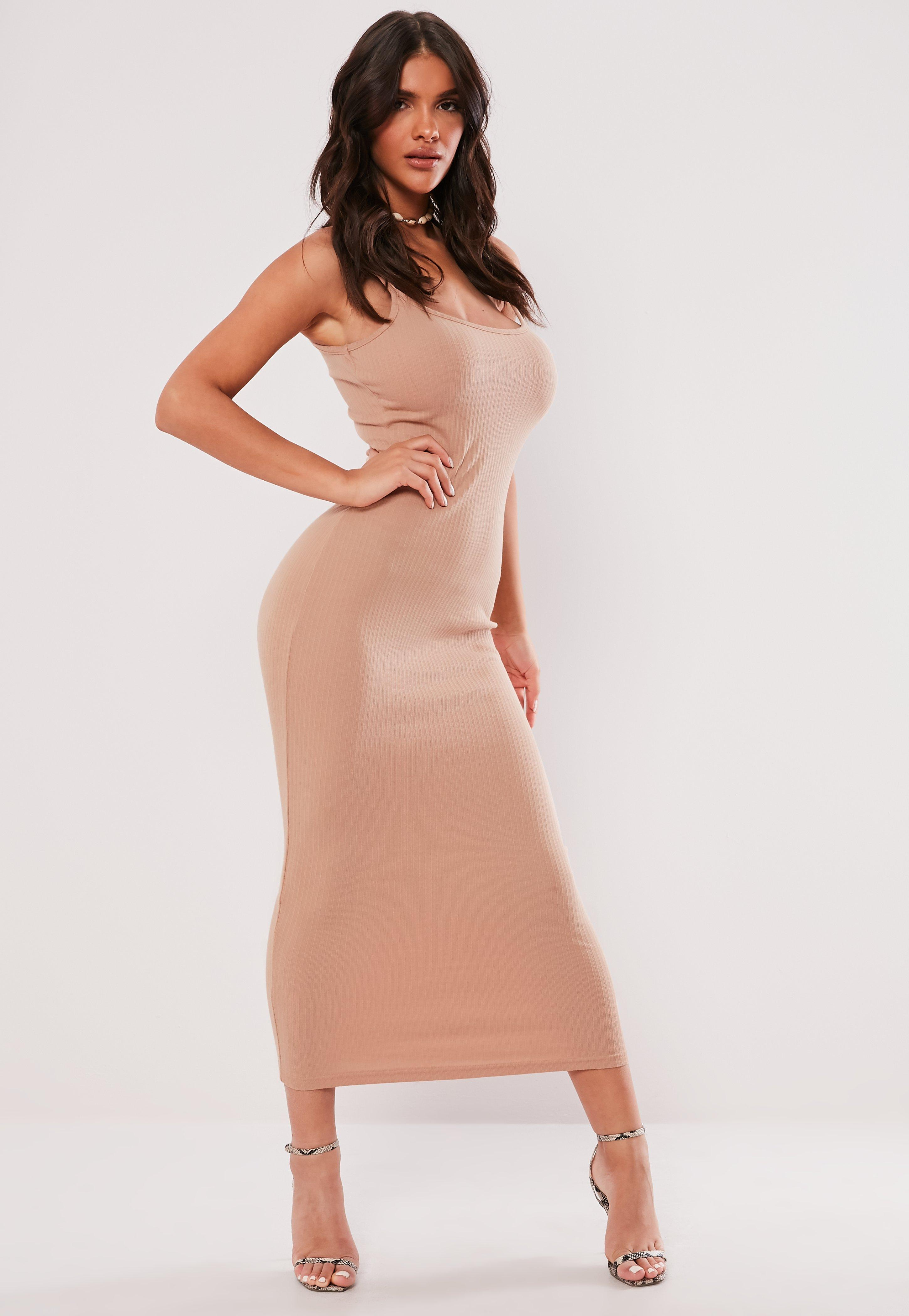 75c180da16 Missguided Nude Ribbed Strappy Bodycon Midi Dress in Natural - Save ...