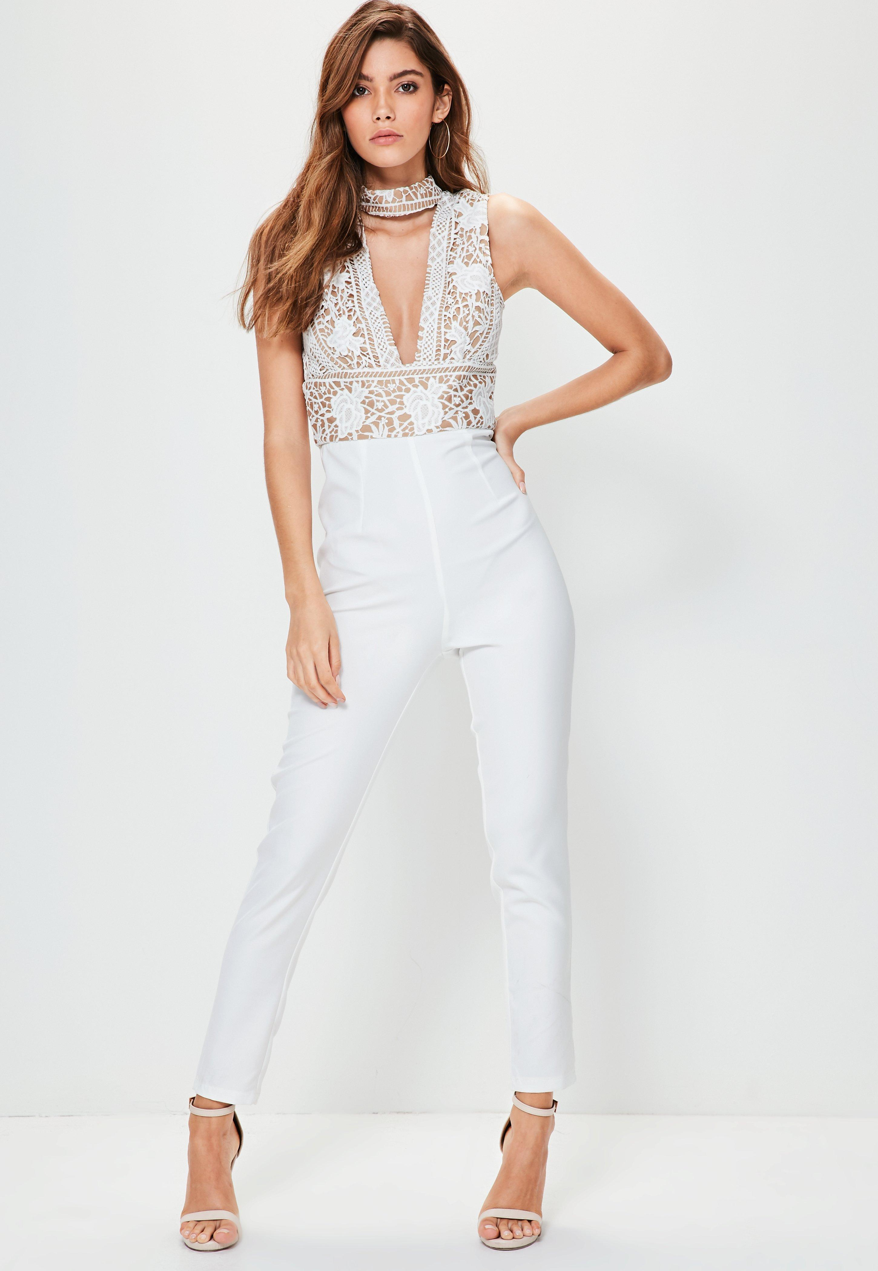 5316affd0b16 Missguided White Lace Top Choker Sleeveless Jumpsuit in White - Lyst