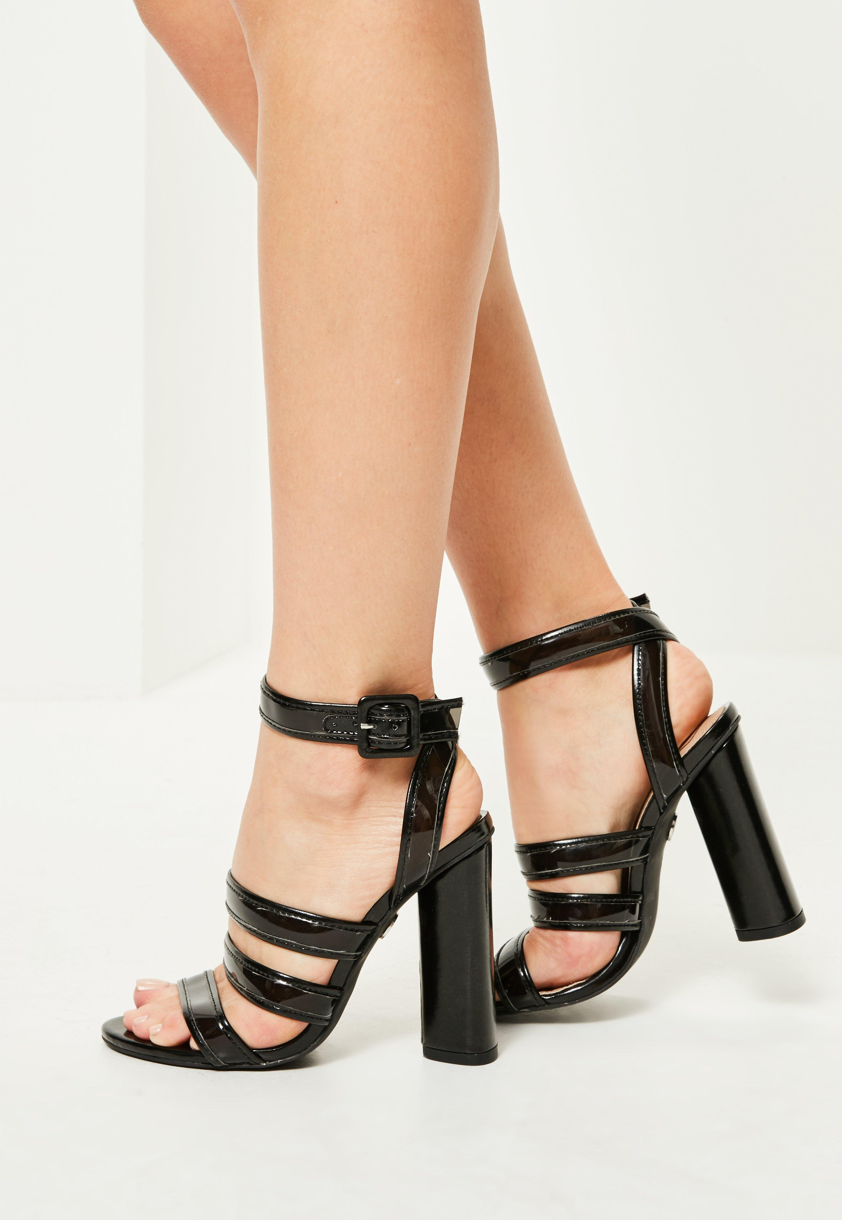 332a3004741 Missguided Black Multi Strap Block Heeled Sandals in Black - Lyst