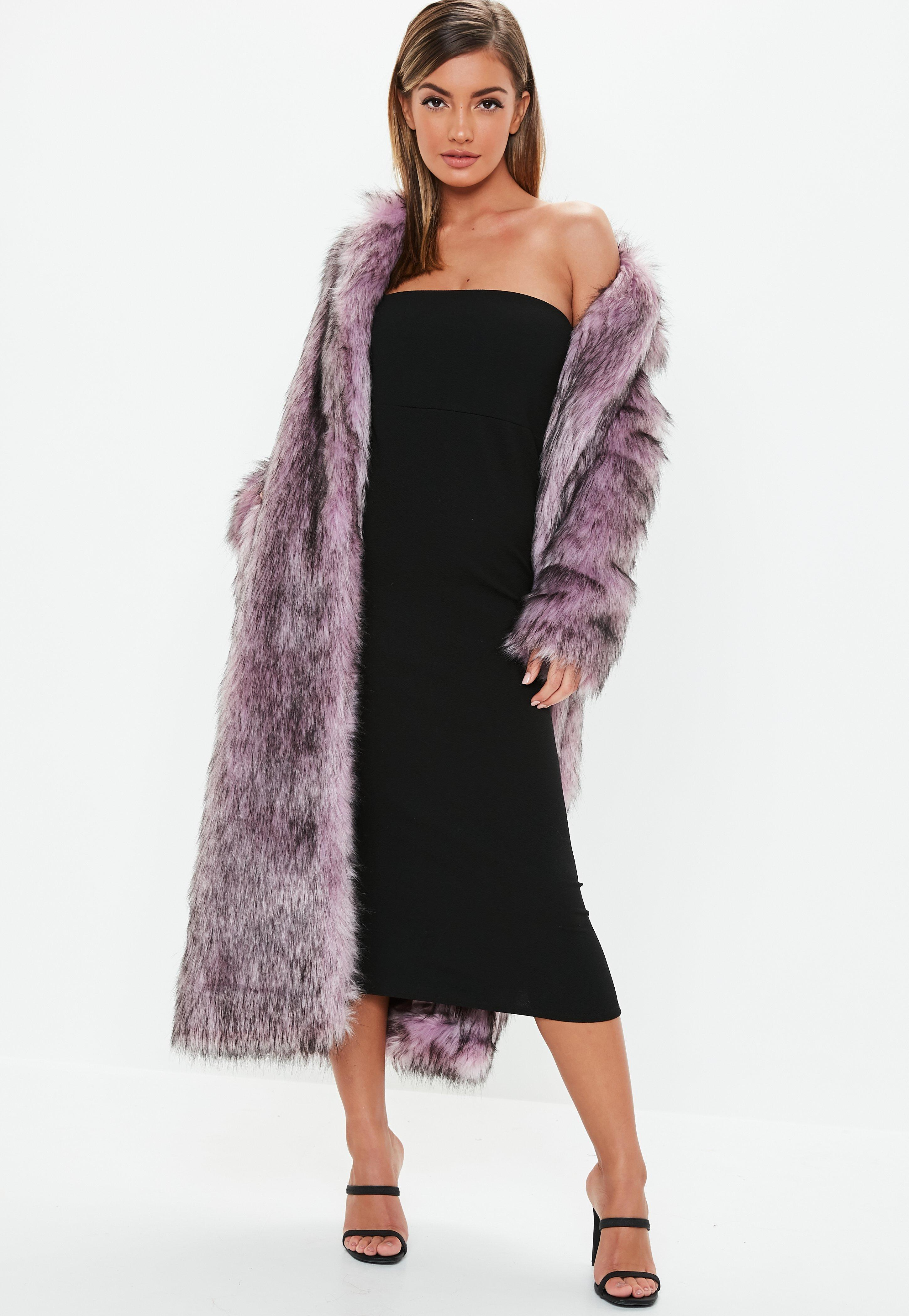 1aabfffb2f79 Lyst - Missguided Pink Tipped Maxi Faux Fur Coat in Pink
