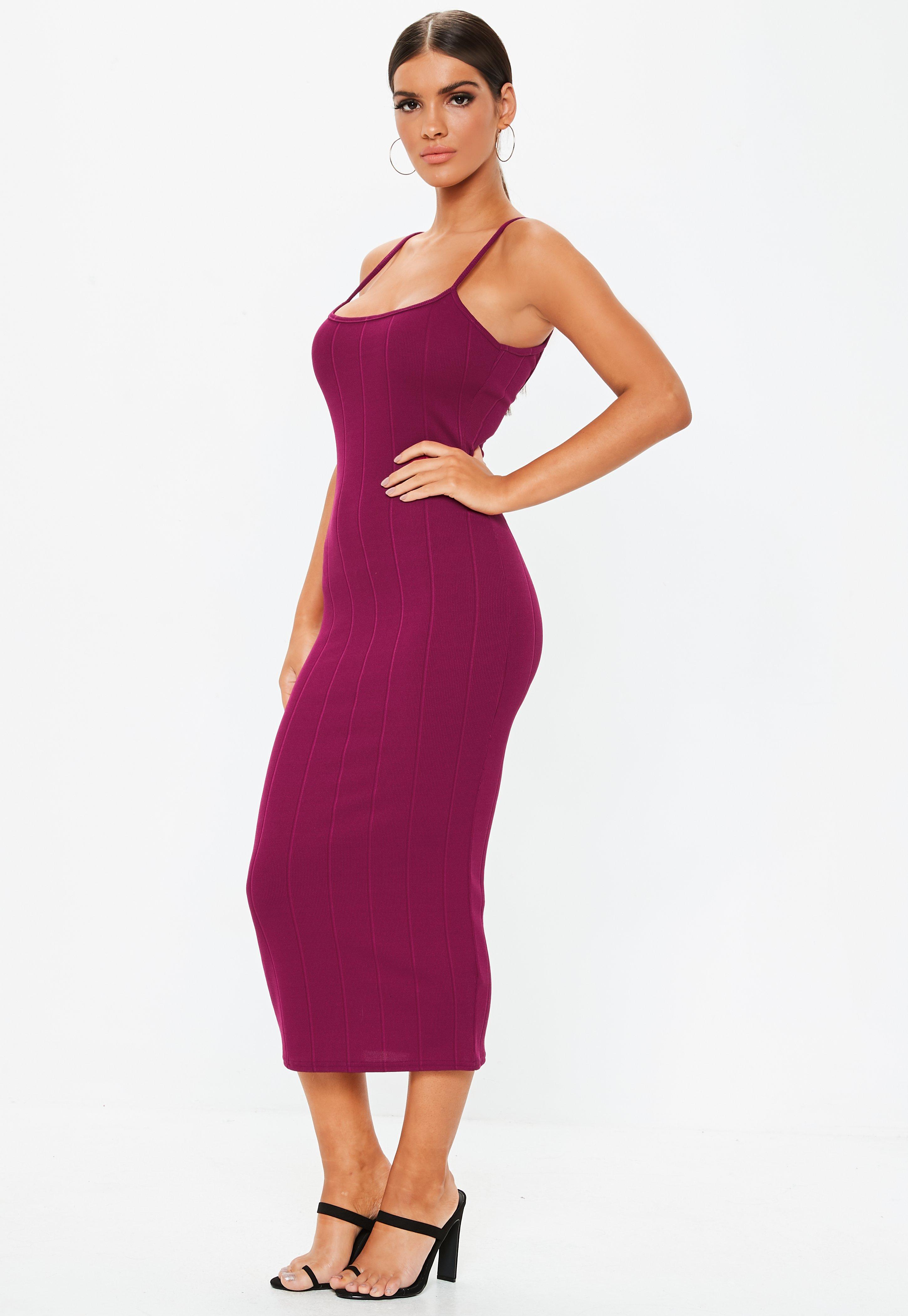 6a2077c338c4e2 Missguided - Purple Scoop Neck Strappy Bandage Midi Dress - Lyst. View  fullscreen