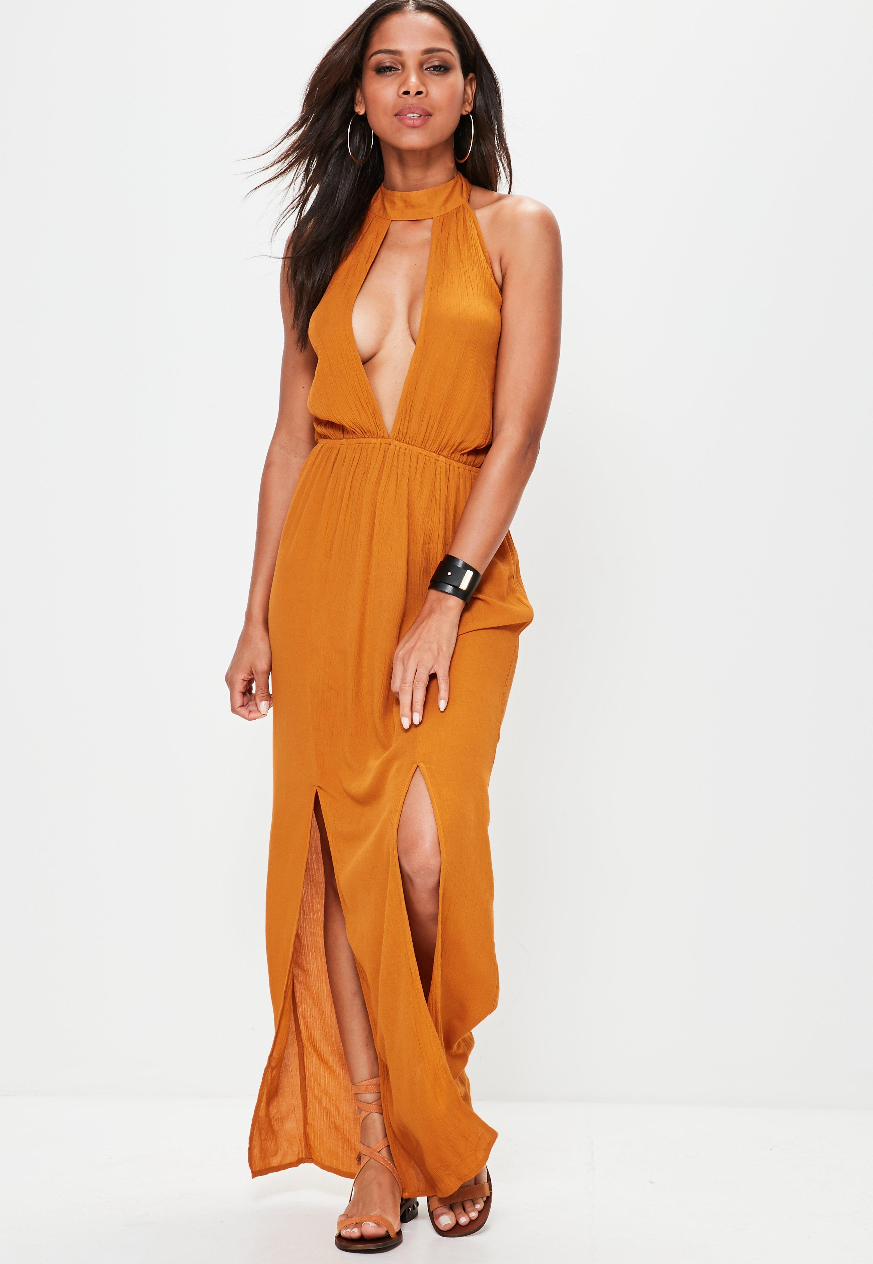 acec223e811b Missguided Orange Cheesecloth Split Front Maxi Dress in Orange - Lyst