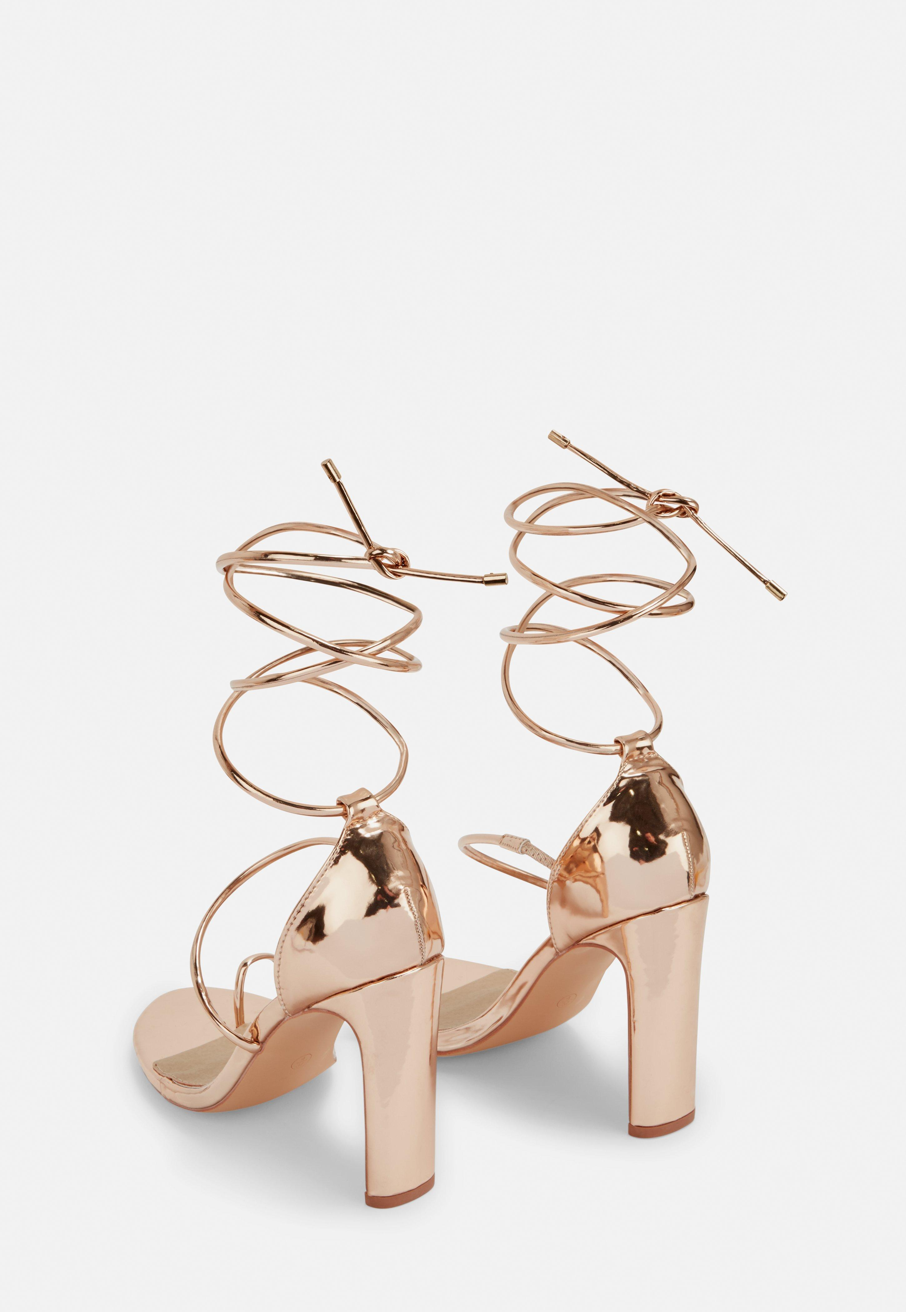 ec53cfa2bc Missguided - Pink Rose Gold Strappy Toe Post Heeled Sandals - Lyst. View  fullscreen