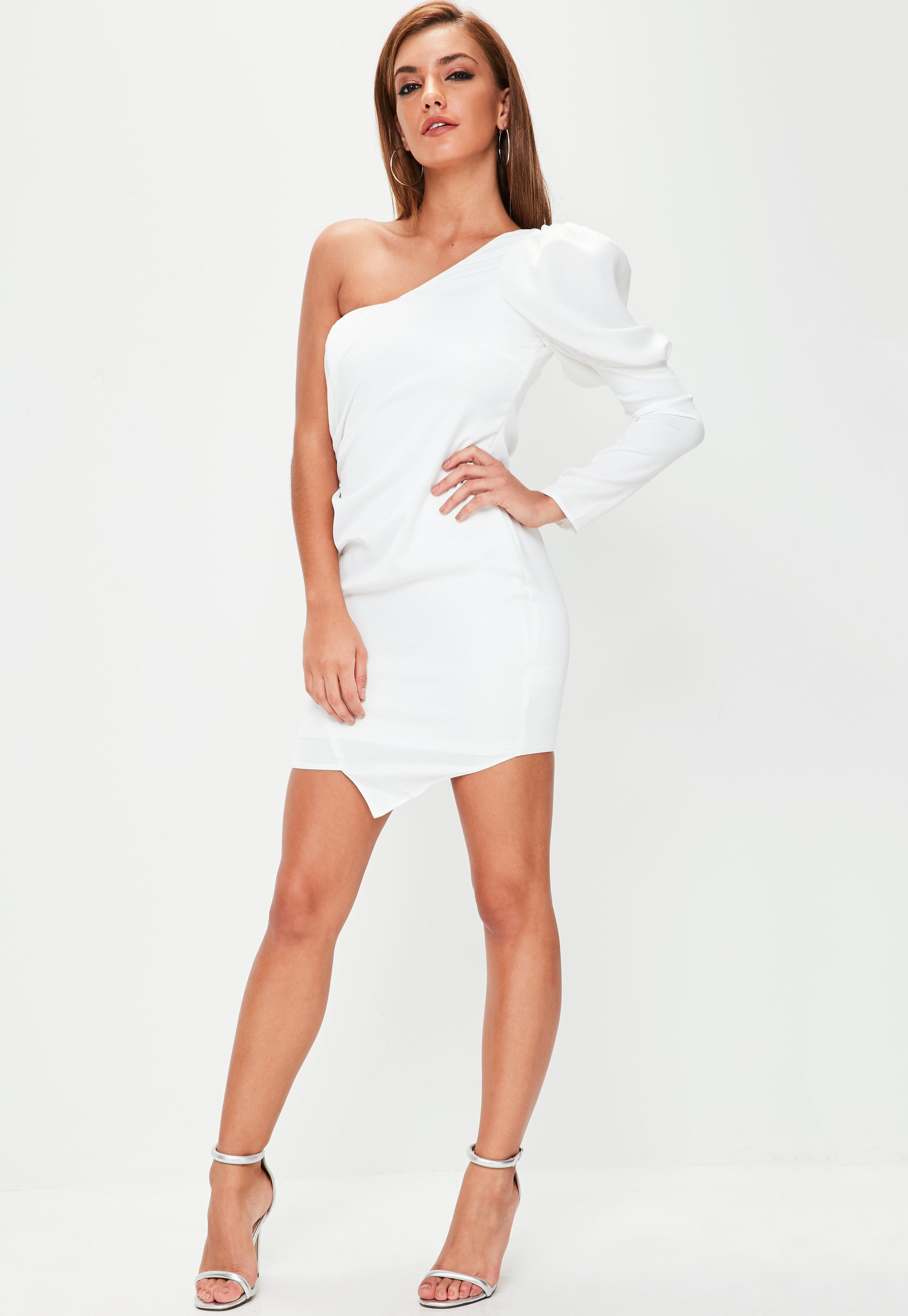 7c448fb300479 Lyst - Missguided White Puff Sleeve One Shoulder Mini Dress in White
