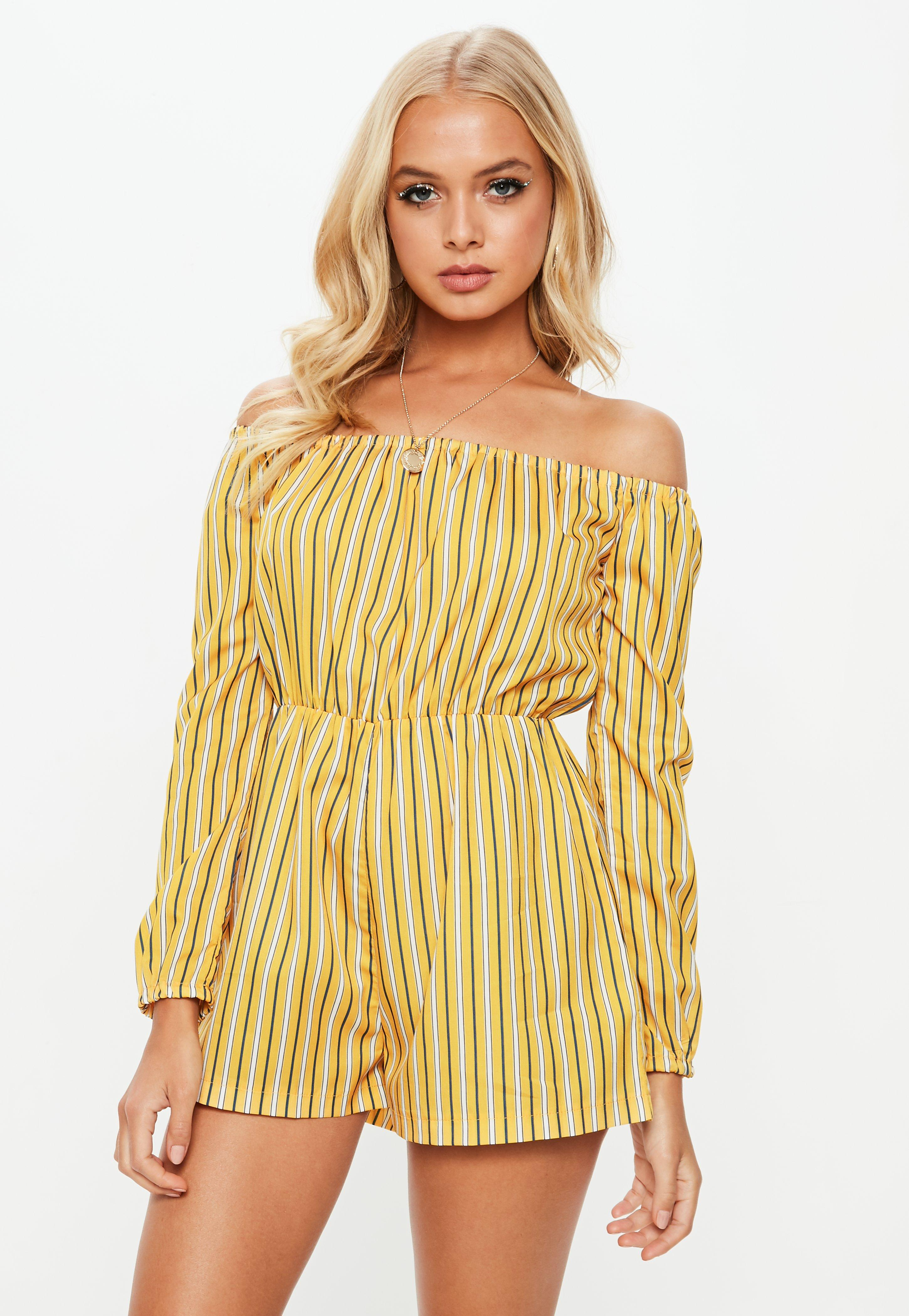 80c25ffe7a Lyst - Missguided Yellow Printed Stripe Bardot Romper in Yellow