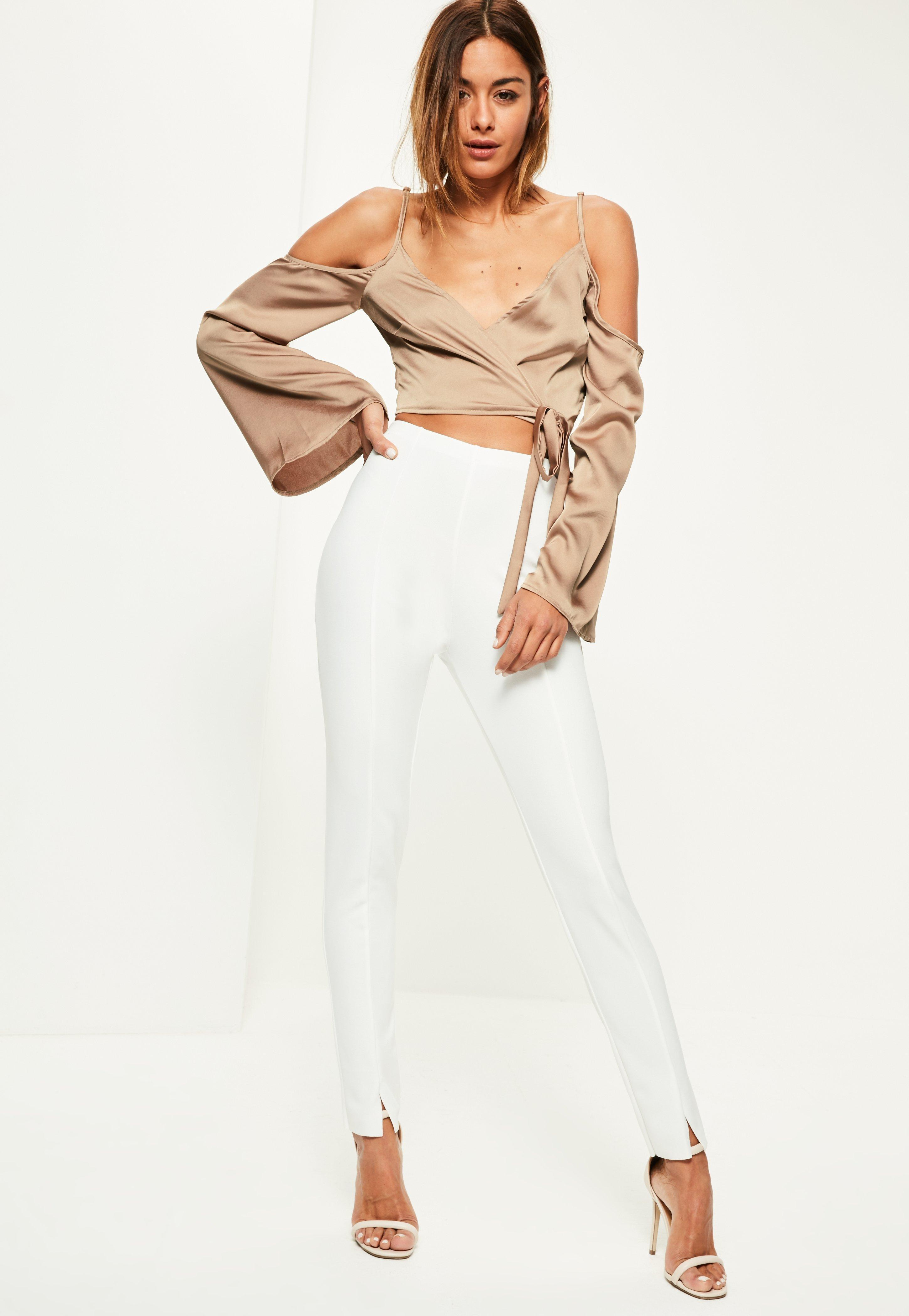 ef91655dc19 Lyst - Missguided Nude Wrap Over Cold Shoulder Blouse in Natural