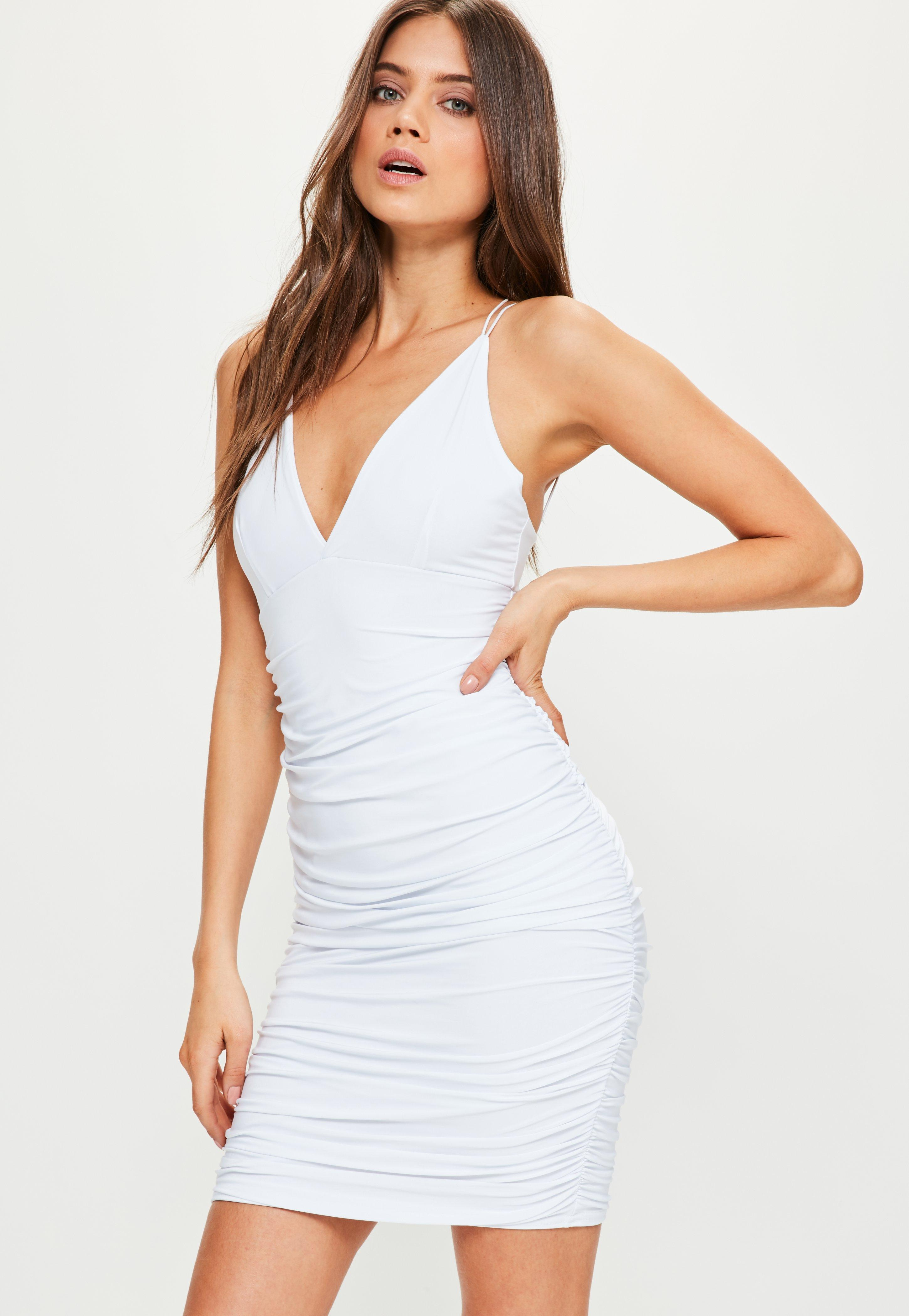 Missguided White Slinky Double Strap Ruched Bodycon Dress ...