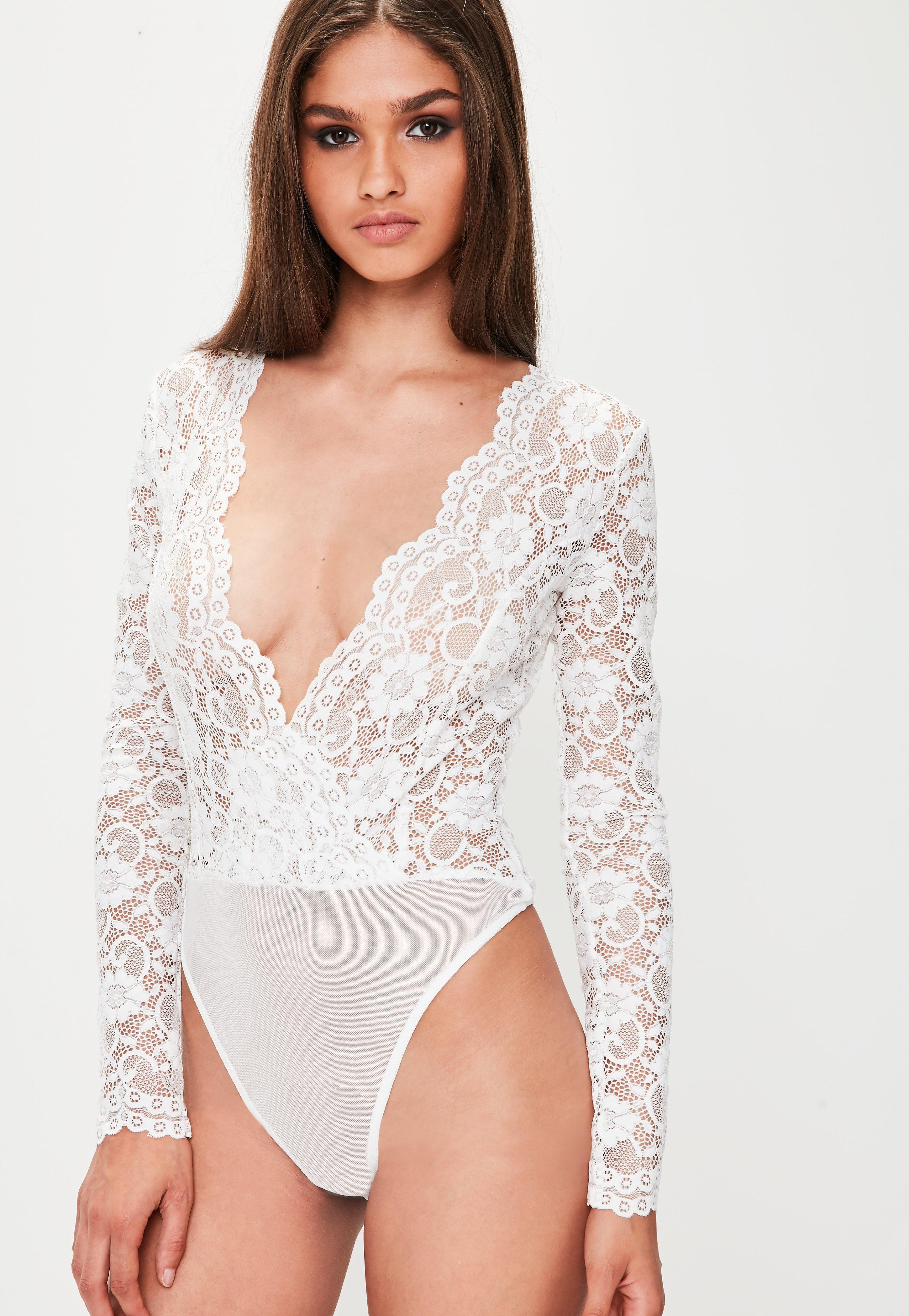 Lyst Missguided White Scallop Lace Long Sleeve Bodysuit In White