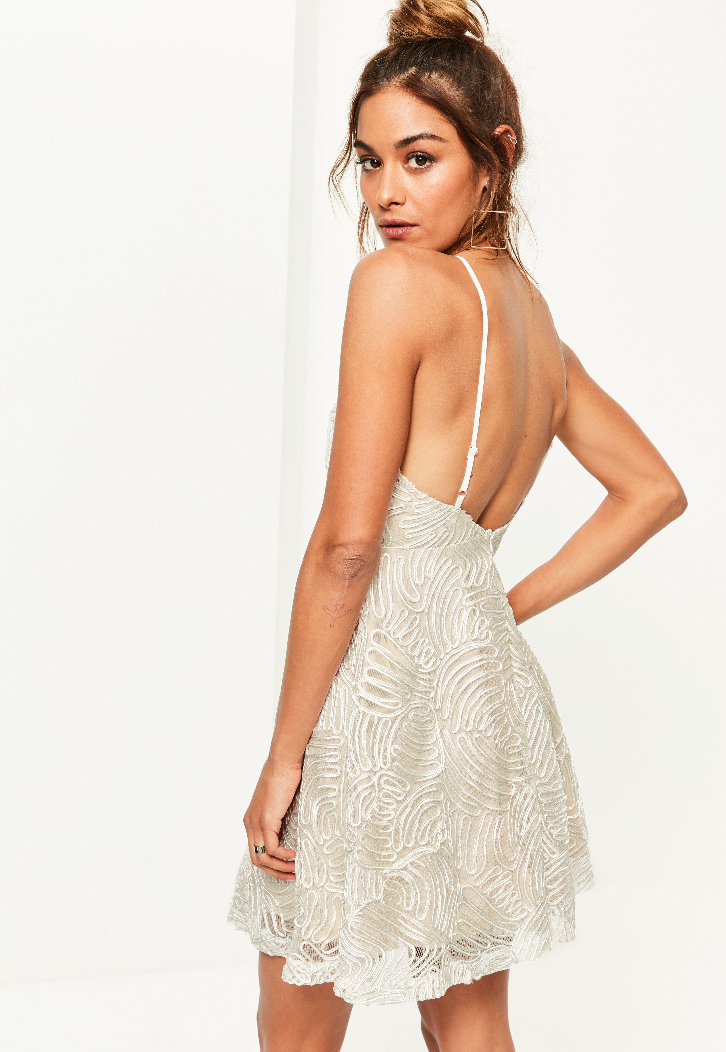 Missguided Nude Lace 90 s Neck Skater Dress in Natural - Lyst f9c714fa8