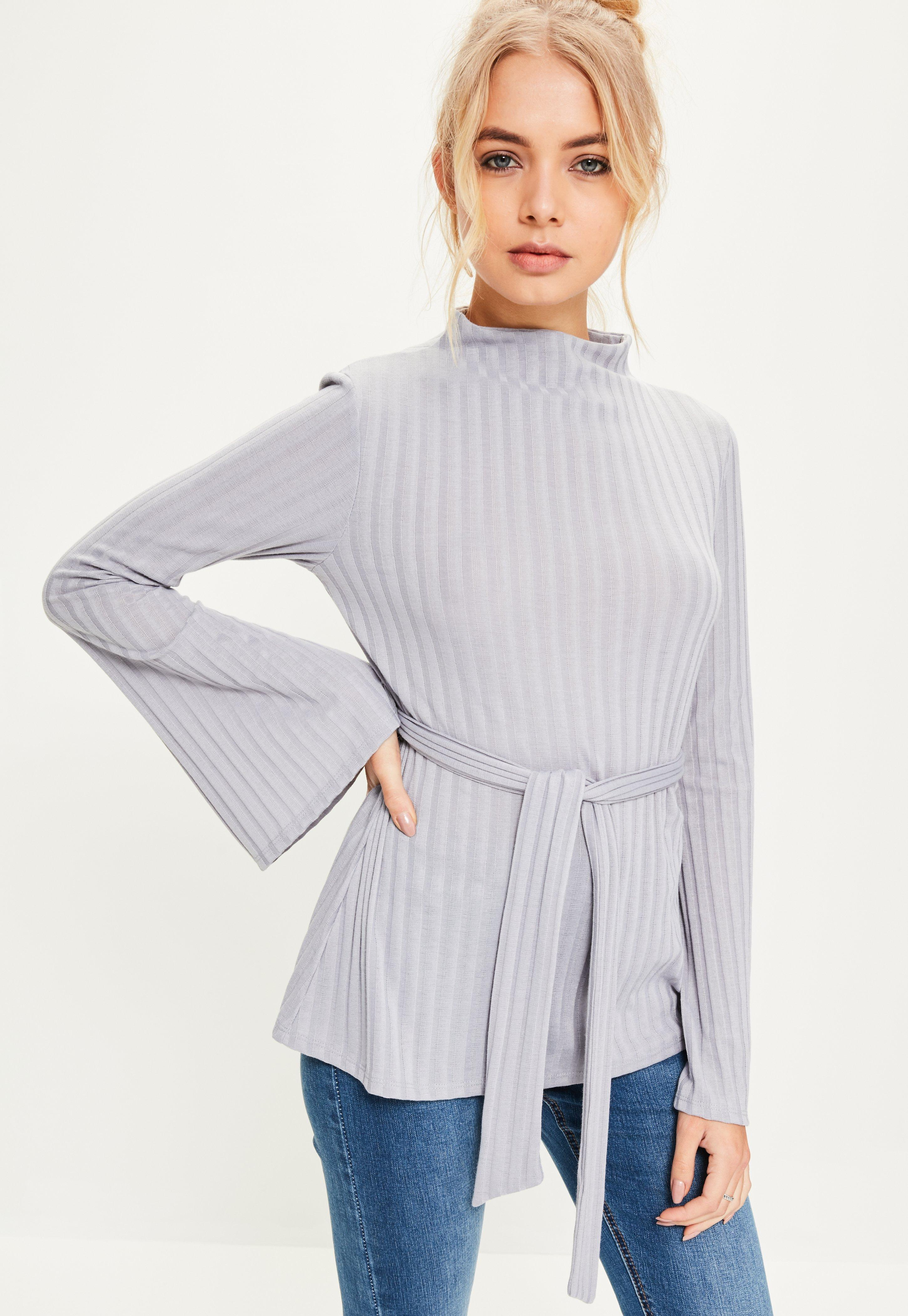 missguided grey tie detail ribbed top in gray lyst