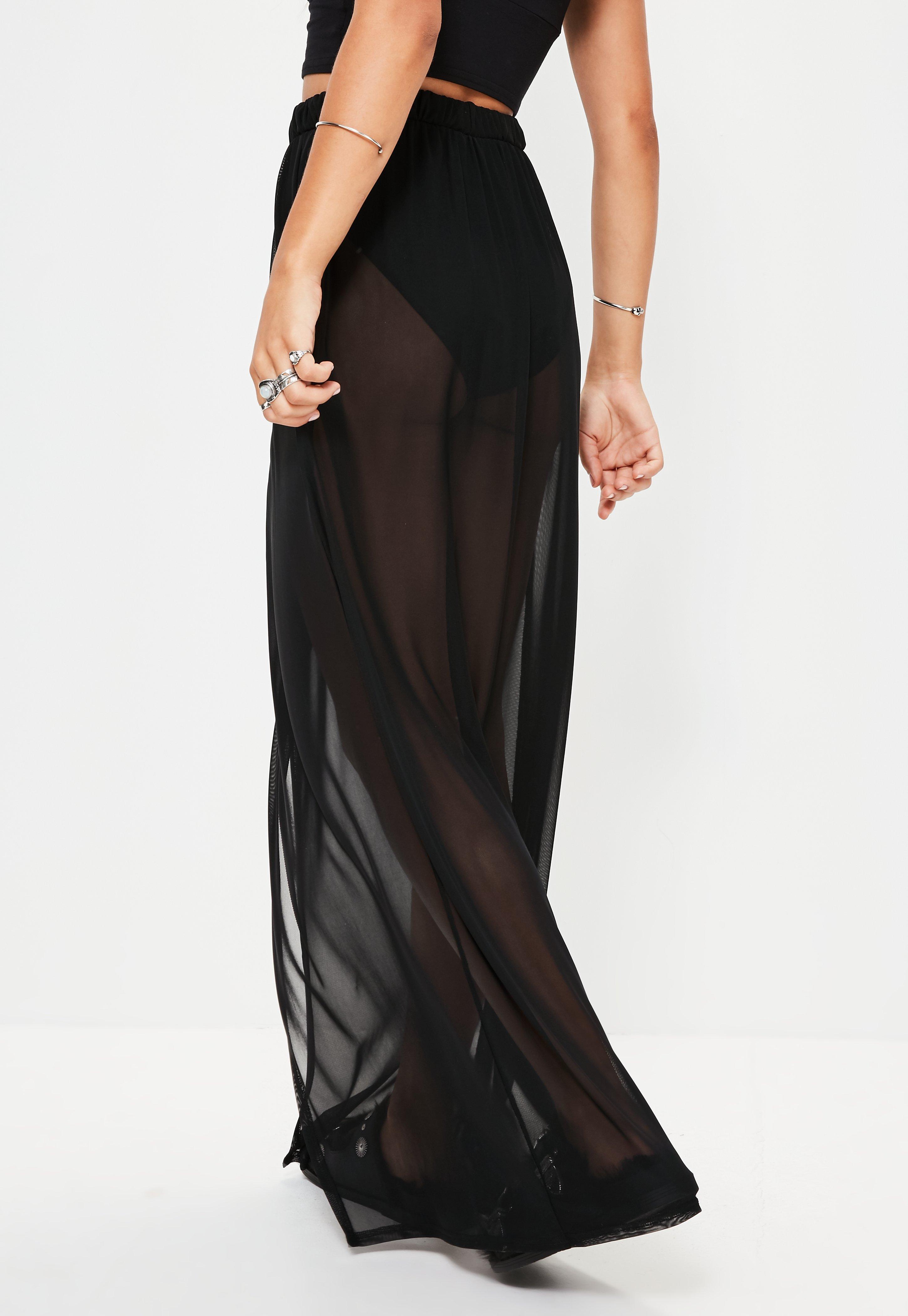 missguided black mesh maxi skirt in black lyst