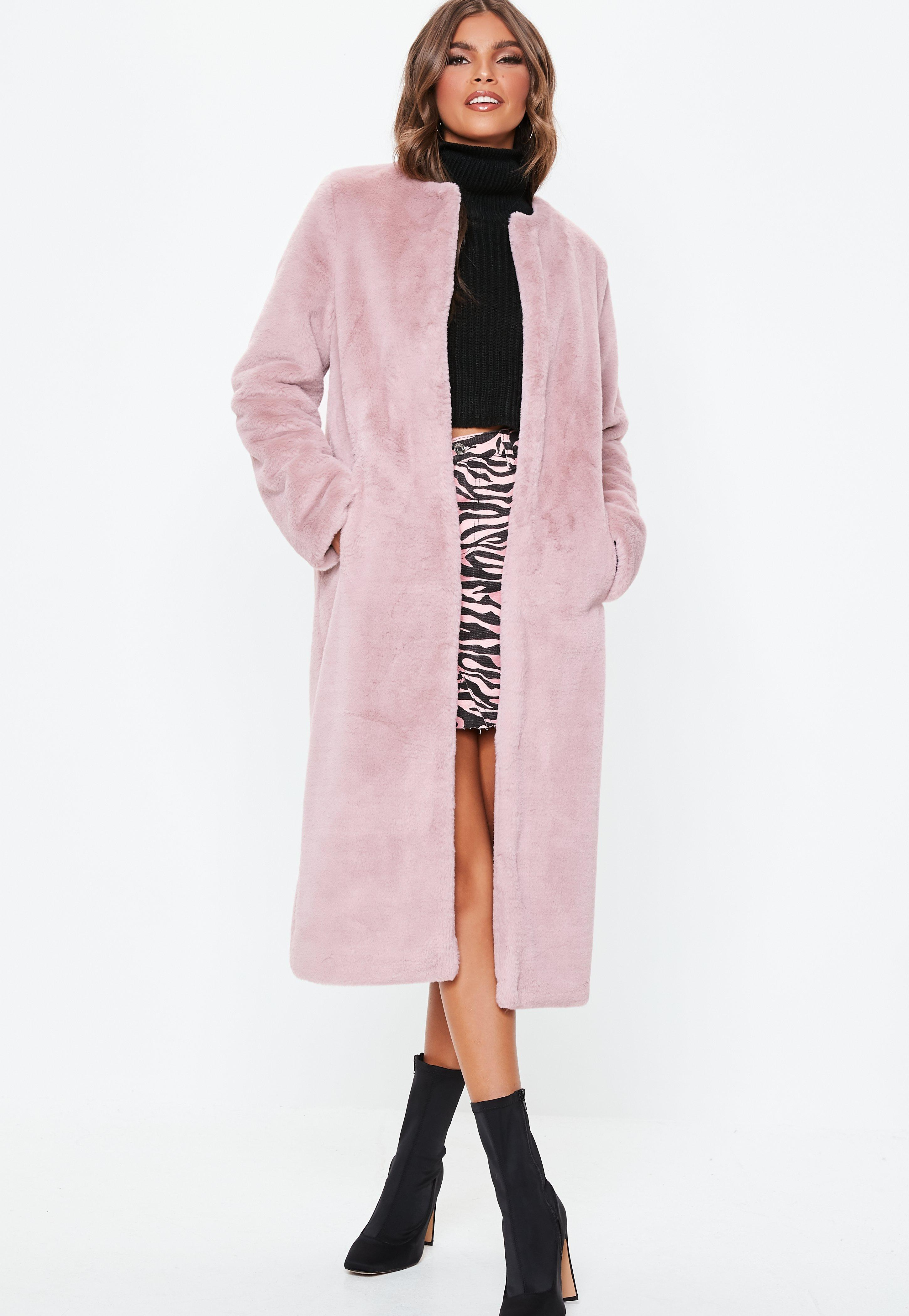 9b8adefb2c16 Missguided Pink Collarless Longline Faux Fur Coat in Pink - Lyst