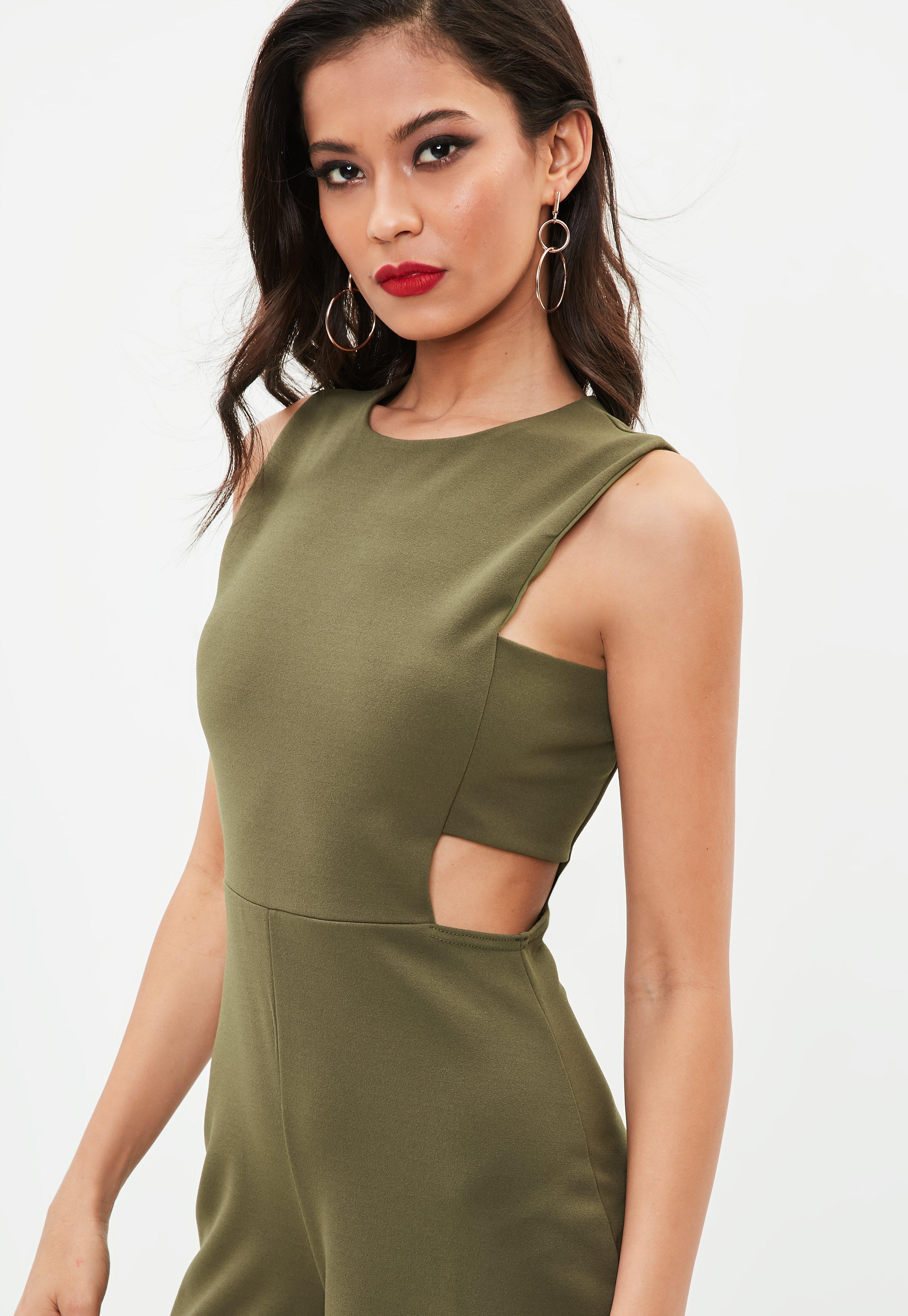 cedadbcf42a Missguided - Green Khaki Side Tab Culotte Jumpsuit - Lyst. View fullscreen