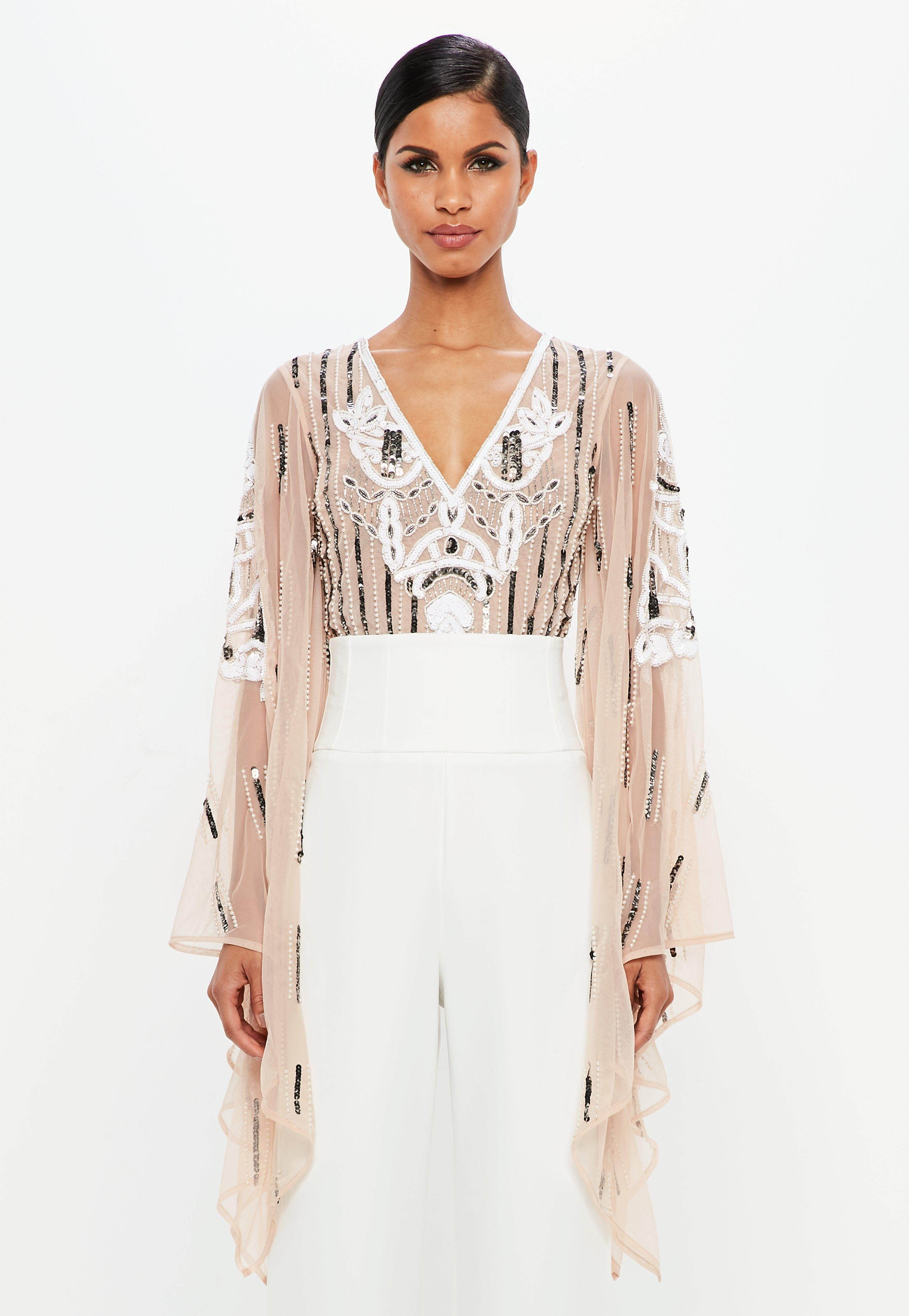Lyst - Missguided Peace + Love Nude Embellished Plunge Mesh Bodysuit ... 17c54477a