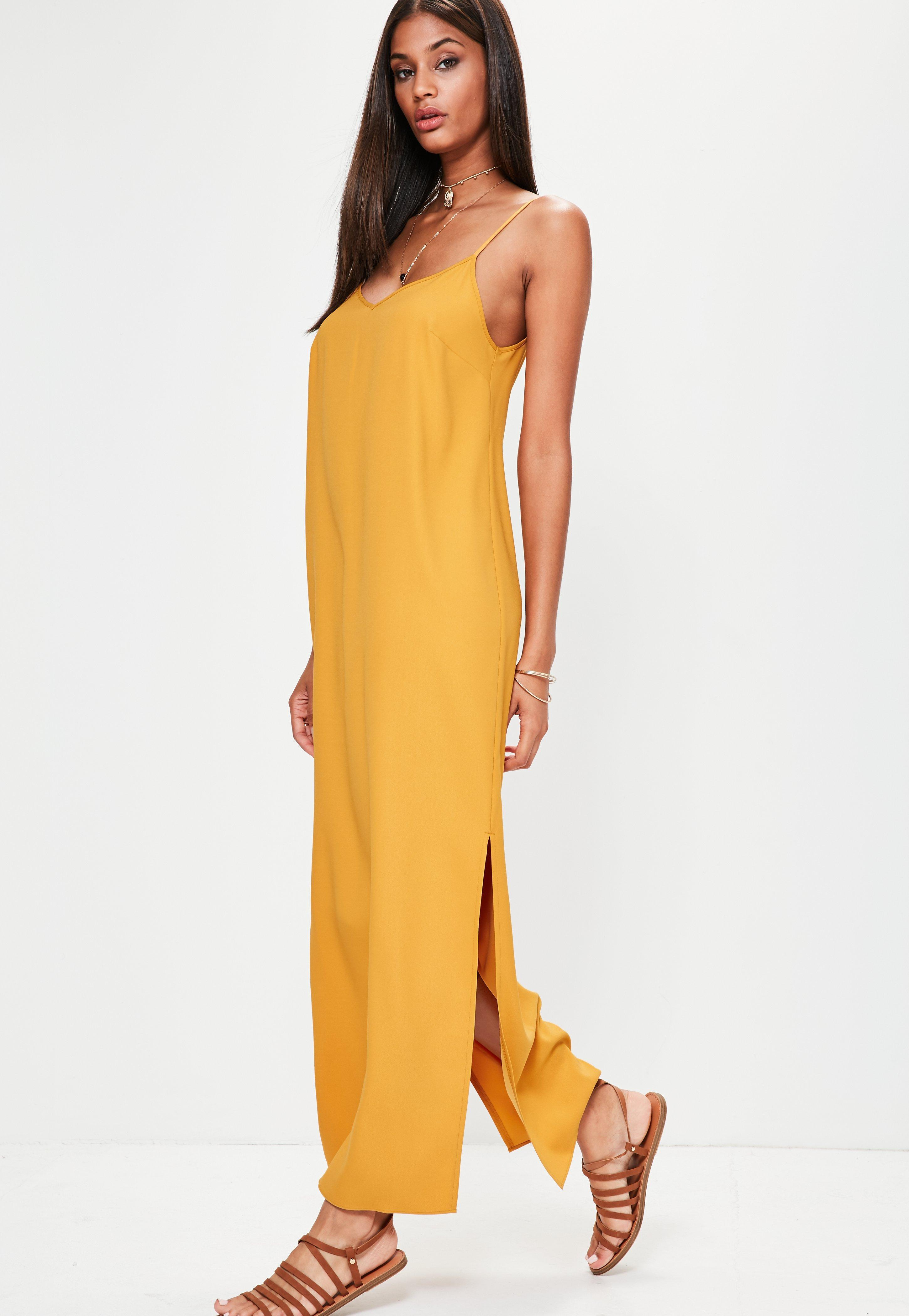 missguided orange cami low back maxi dress in orange lyst. Black Bedroom Furniture Sets. Home Design Ideas