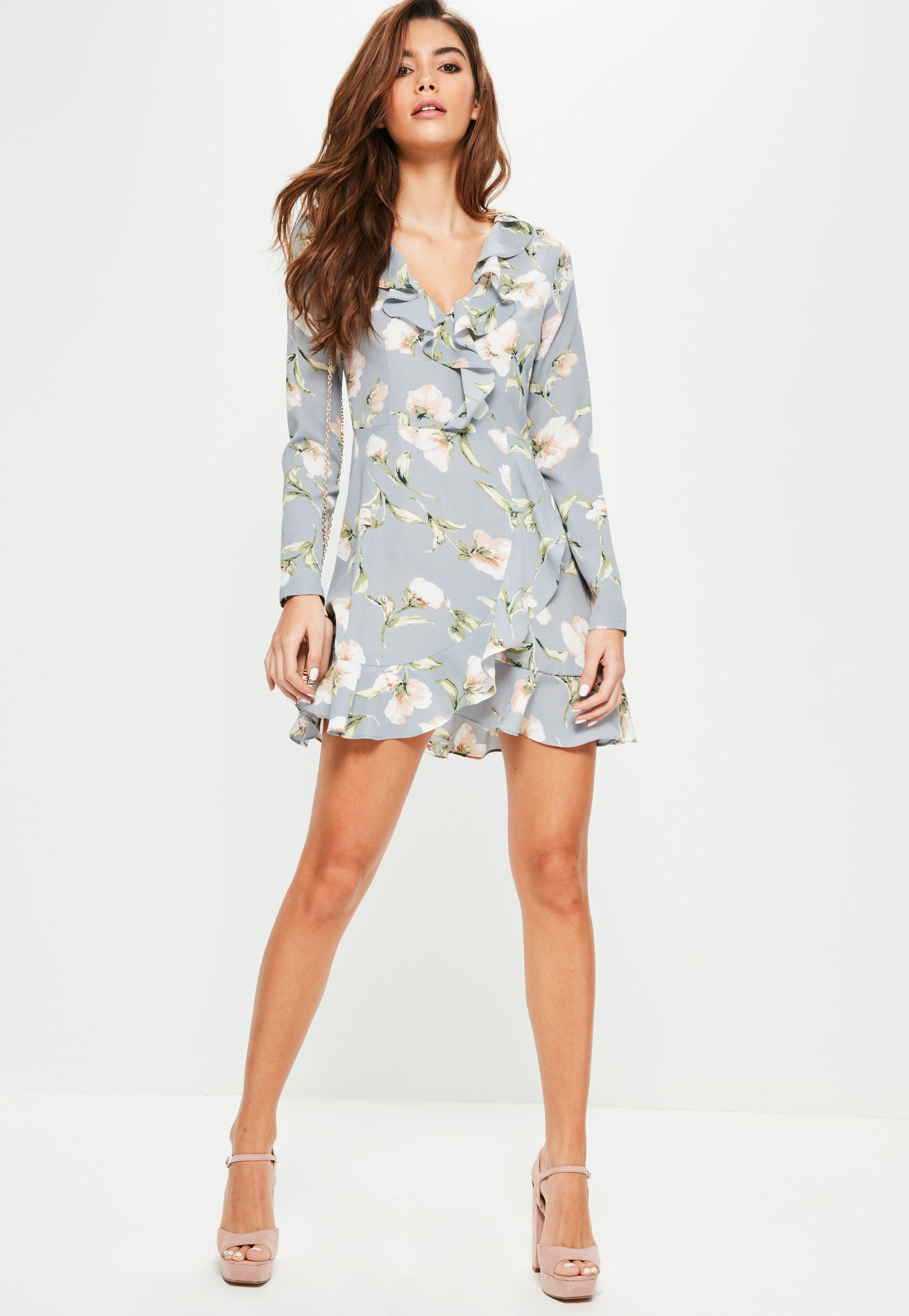 33d573ab5e43 Lyst - Missguided Blue Floral Ruffle Tea Dress in Blue - Save 11%