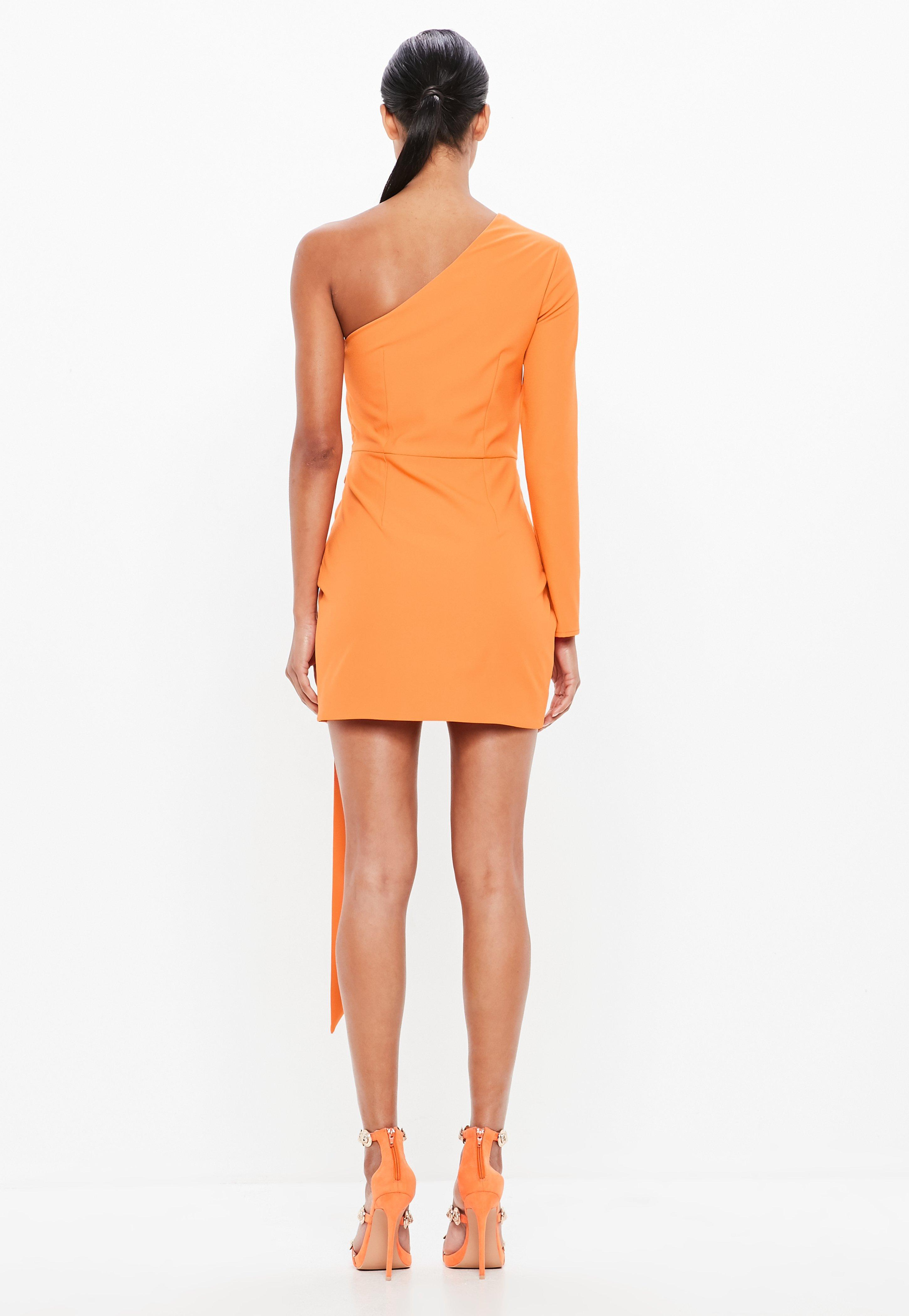 ef044f6626af Lyst - Missguided Peace + Love Orange One Shoulder Wrap Mini Dress ...