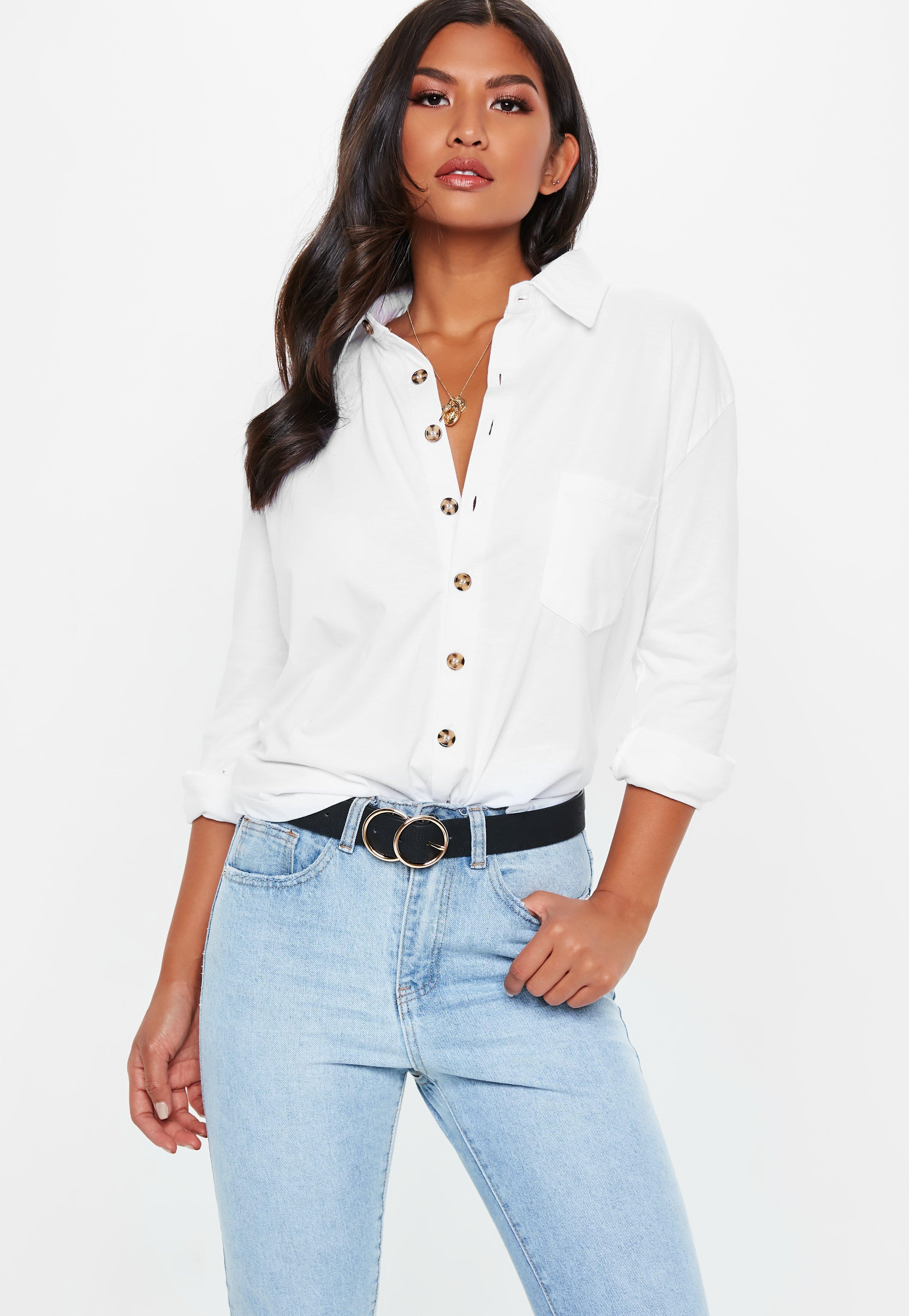 a00e44d7aee44 Lyst - Missguided Jersey Horn Button Shirt in White