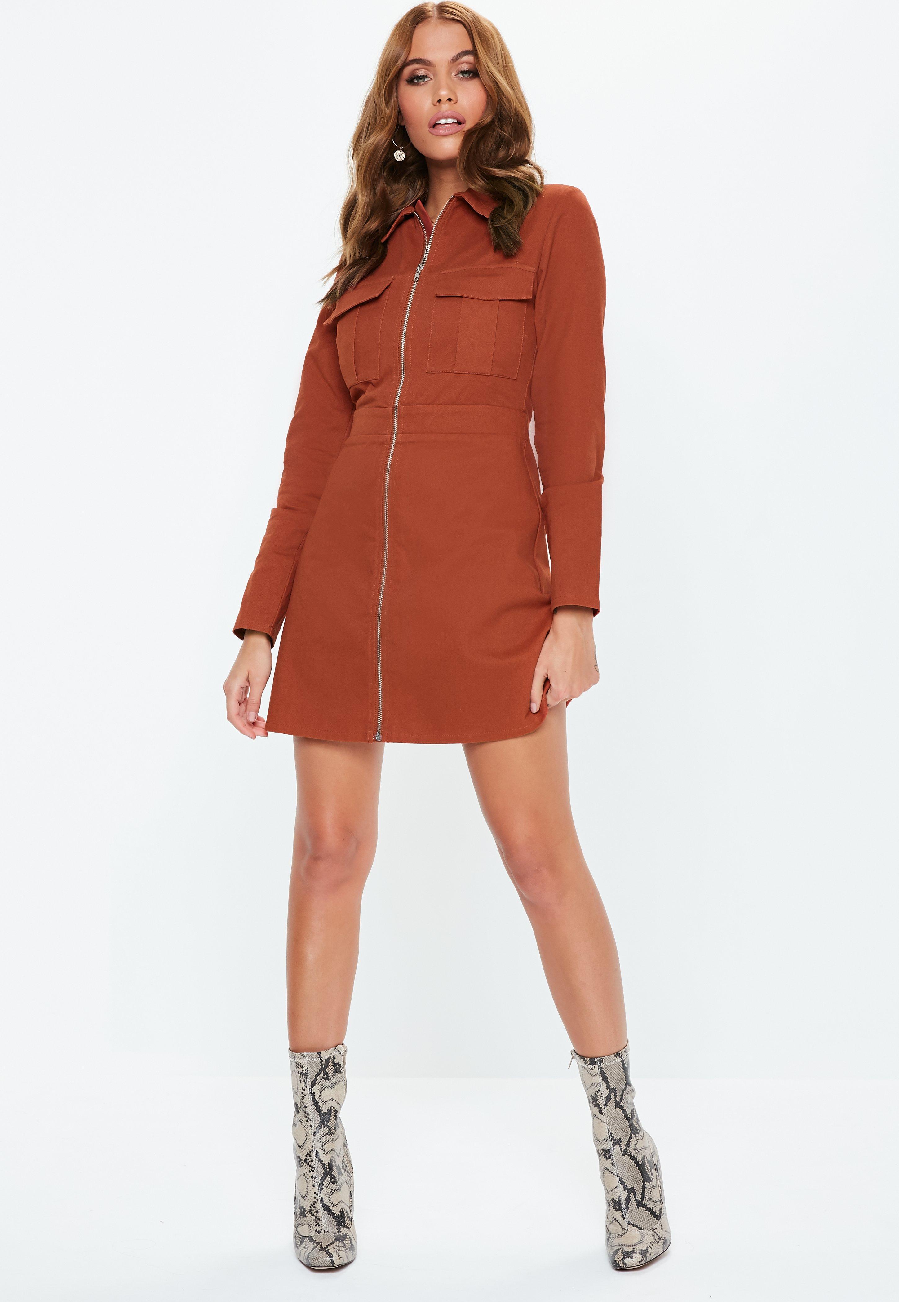 cdcb193454 Missguided - Multicolor Rust Zip Through Skater Shirt Dress - Lyst. View  fullscreen