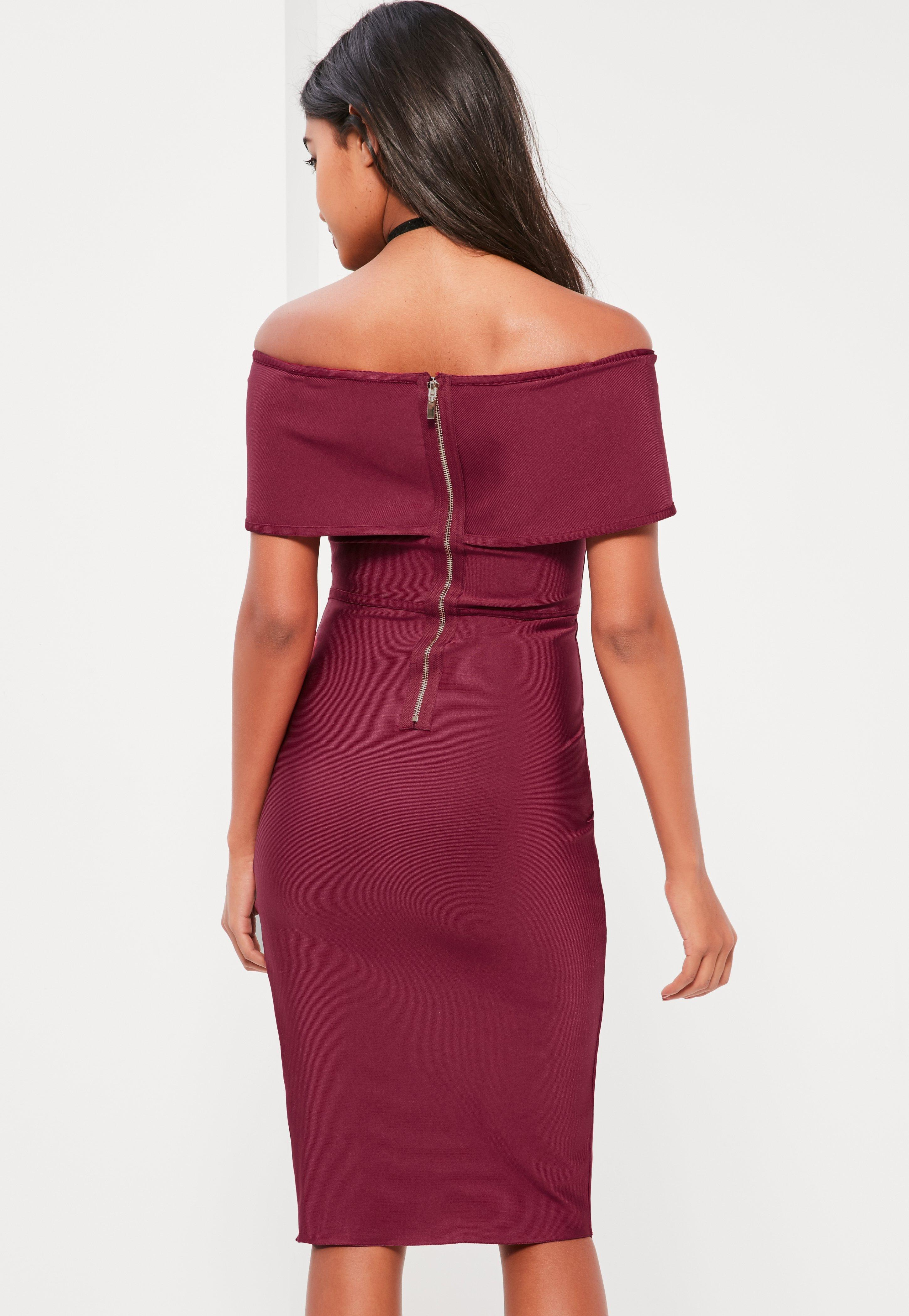 2917f1edce8a4 Lyst - Missguided Burgundy Bandage Bardot Midi Dress in Red